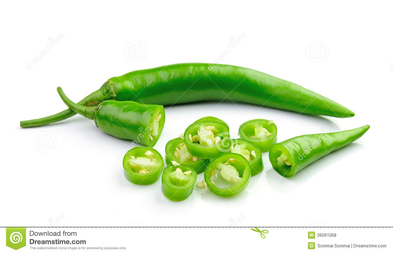 Green Hot Chili Pepper On White Royalty Free Stock Photos ...