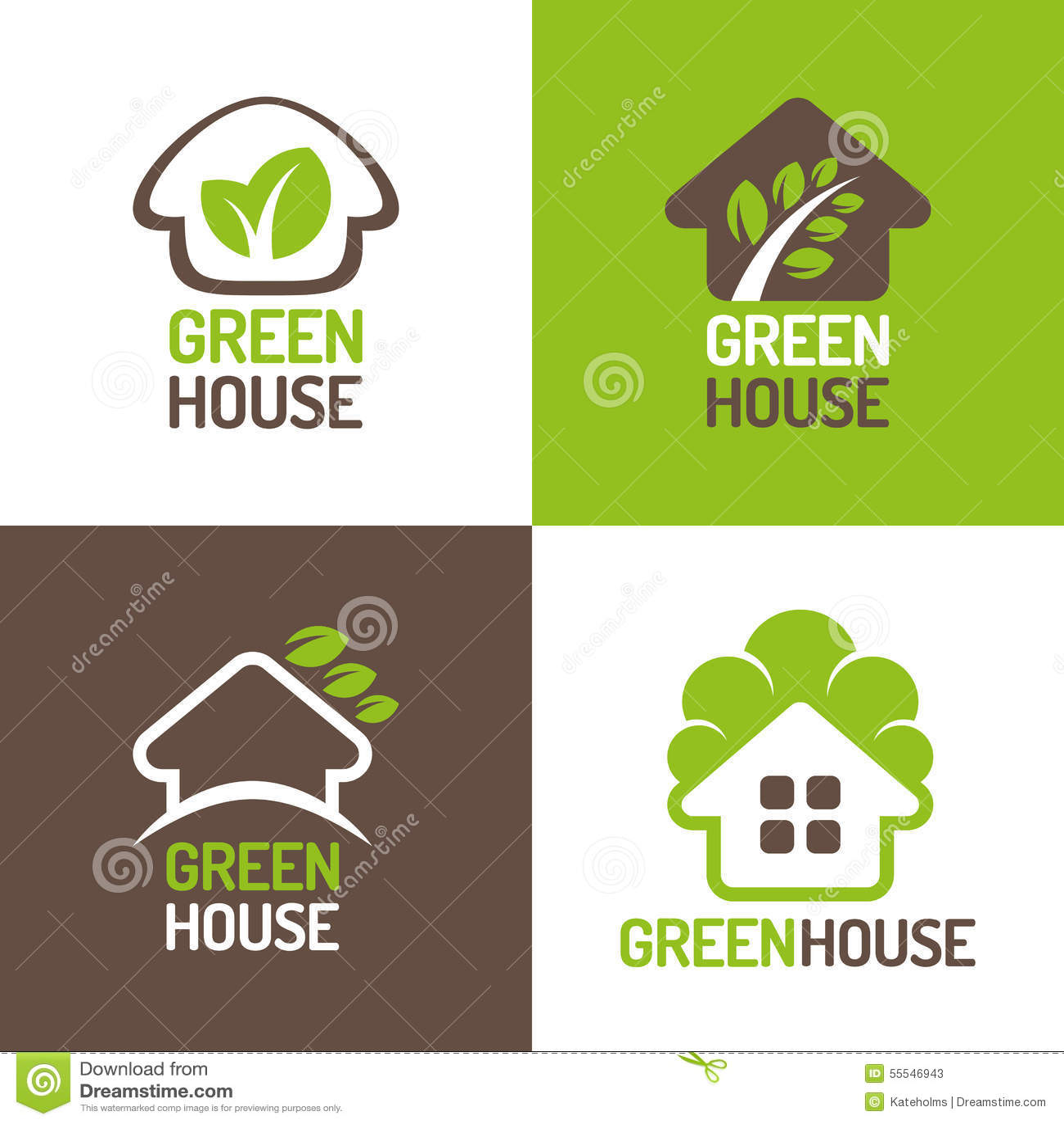 Green House Logo Stock Vector. Illustration Of Biology