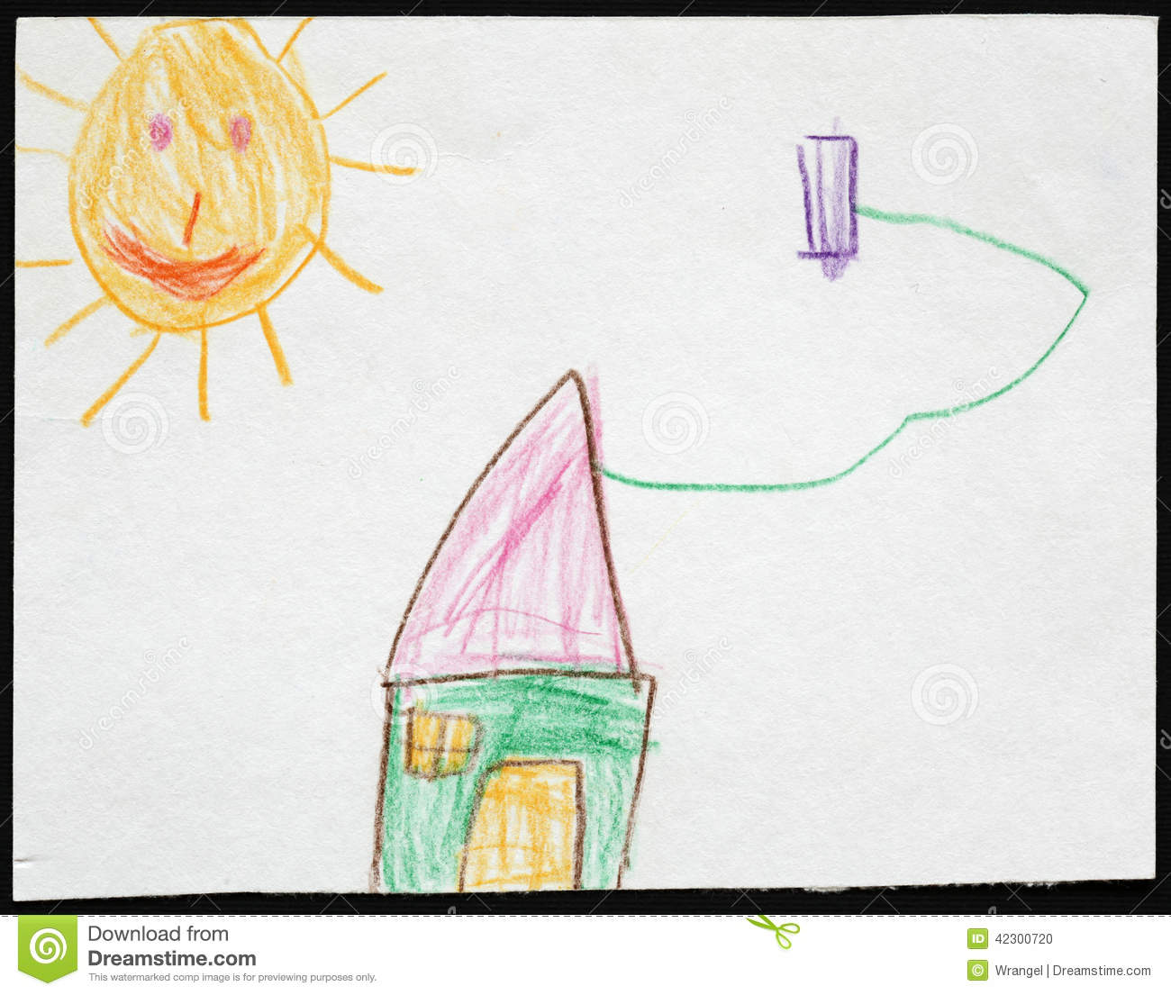 Green House Under The Sun. Child's Drawing. Stock Photo