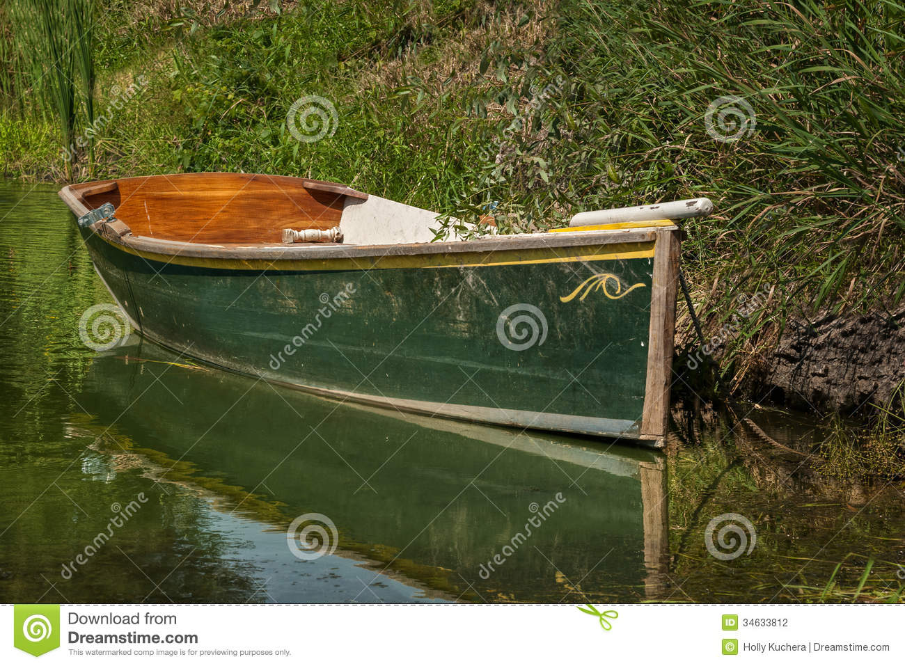 Green hulled boat stock photography image 34633812 for Small fishing boats for ponds