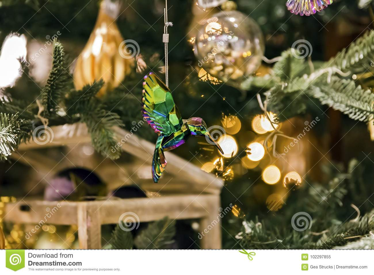 crystal hummingbird christmas ornament in tree