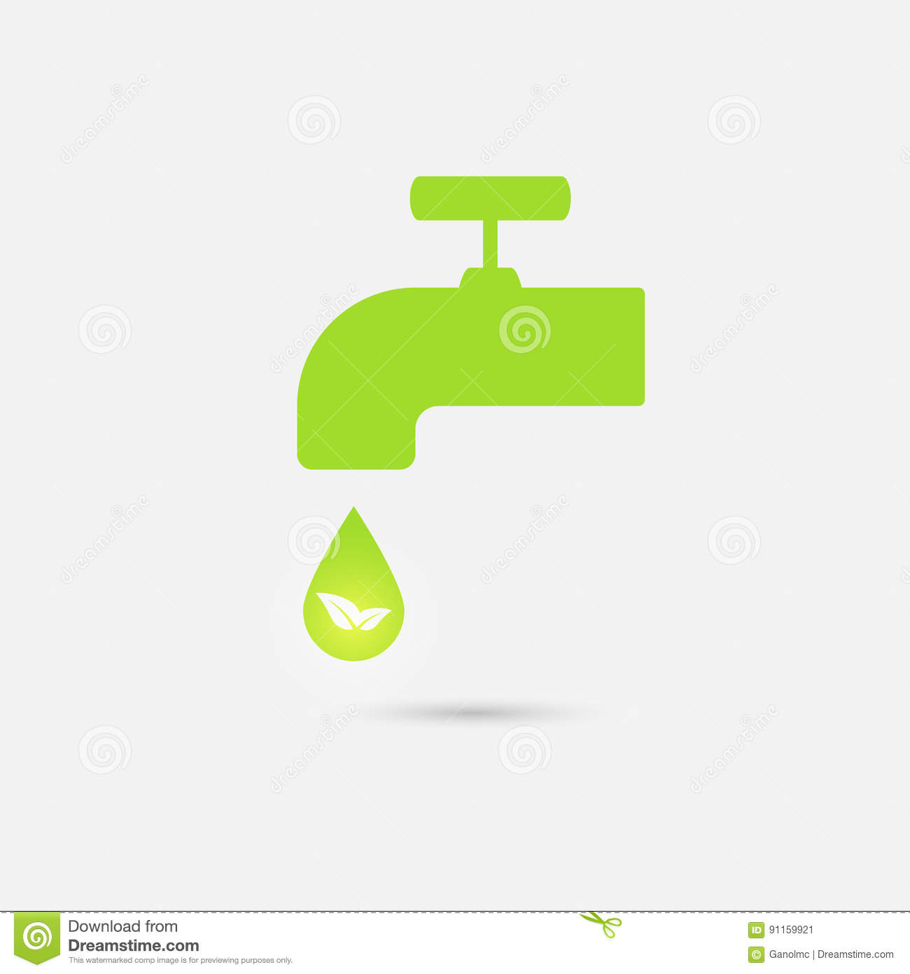 Green Icon Save Environment And Water Concept Vector