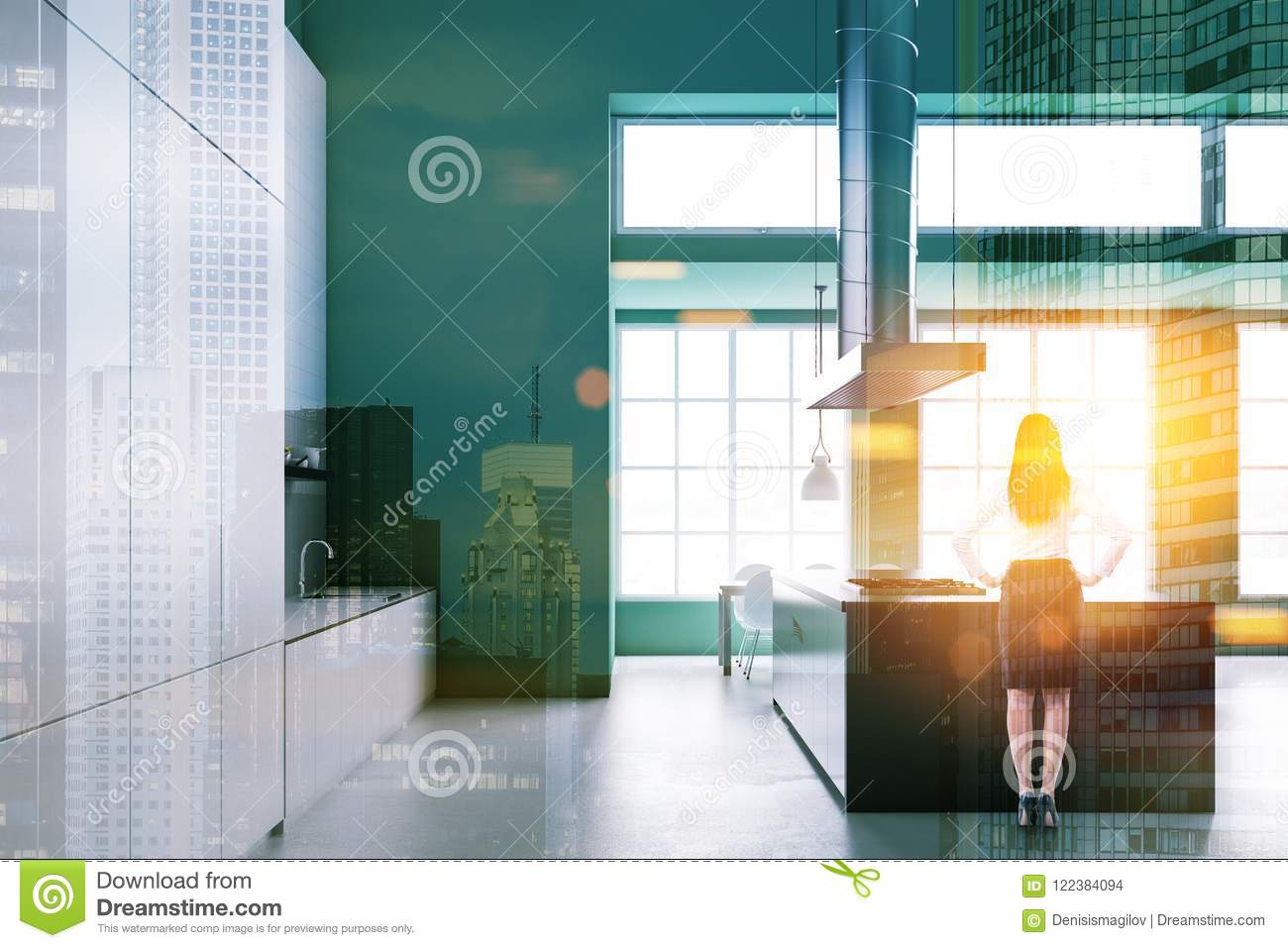 Green Industrial Style Kitchen, Side View, Woman Stock Photo - Image ...