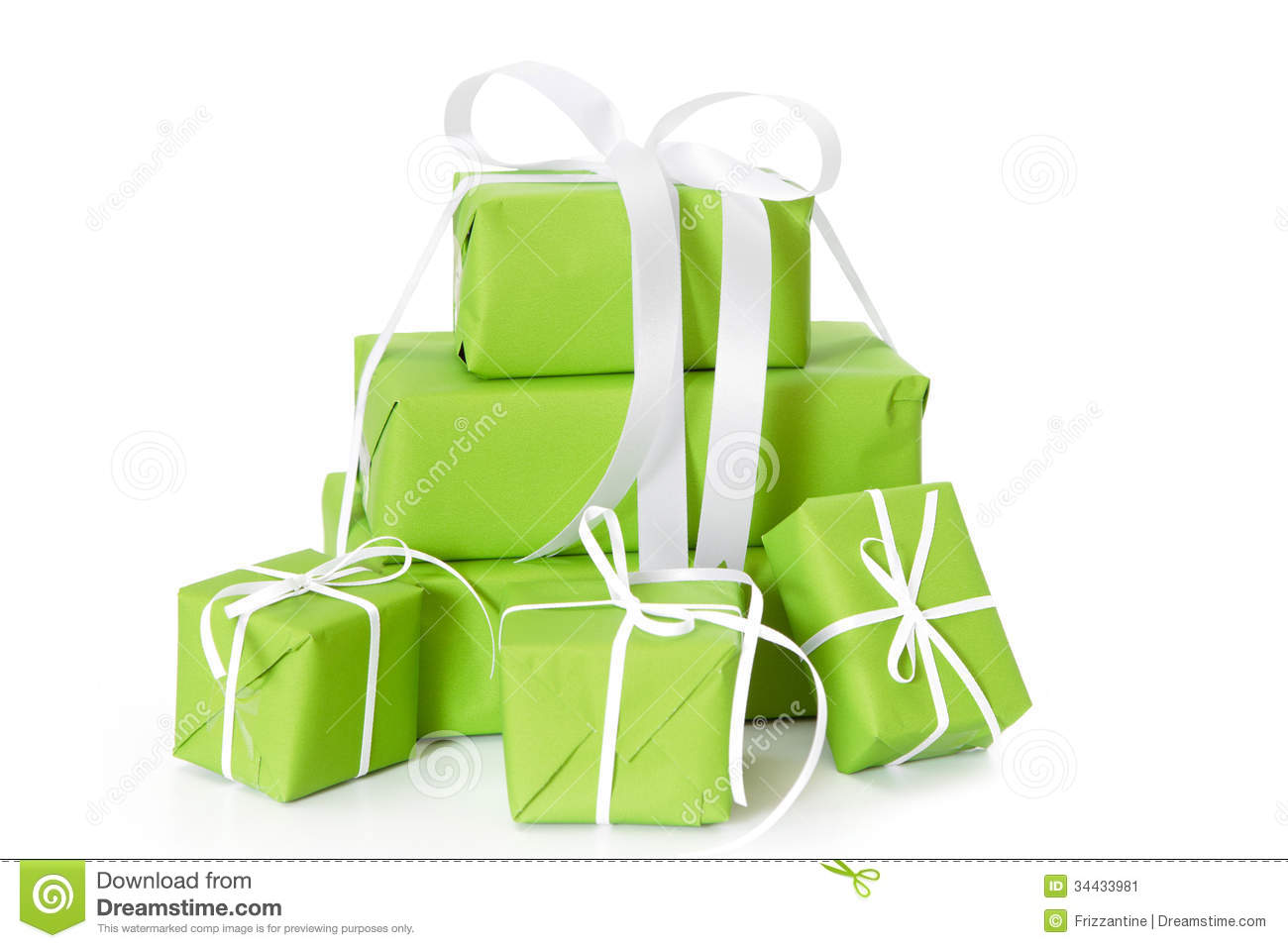 Green Isolated Gift Boxes Tied With White Ribbon For Christmas Stock ...