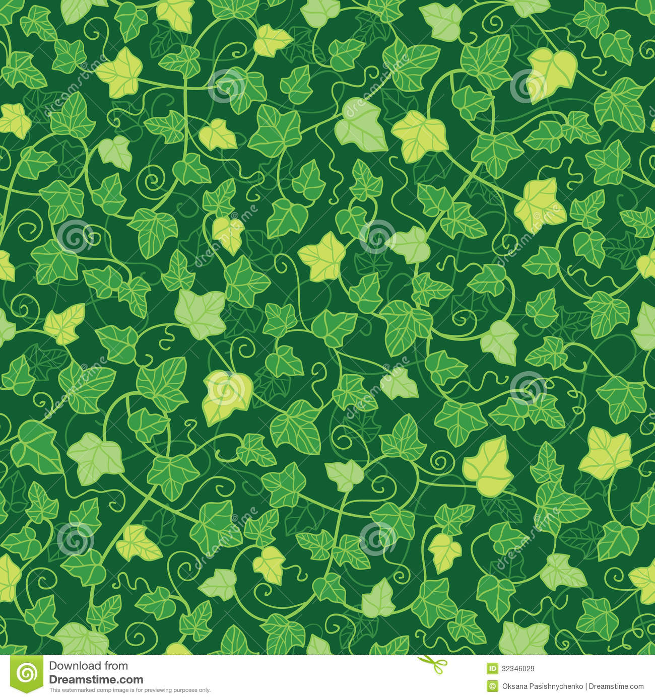 Green Ivy Plants Seamless Pattern Background Stock Image ...