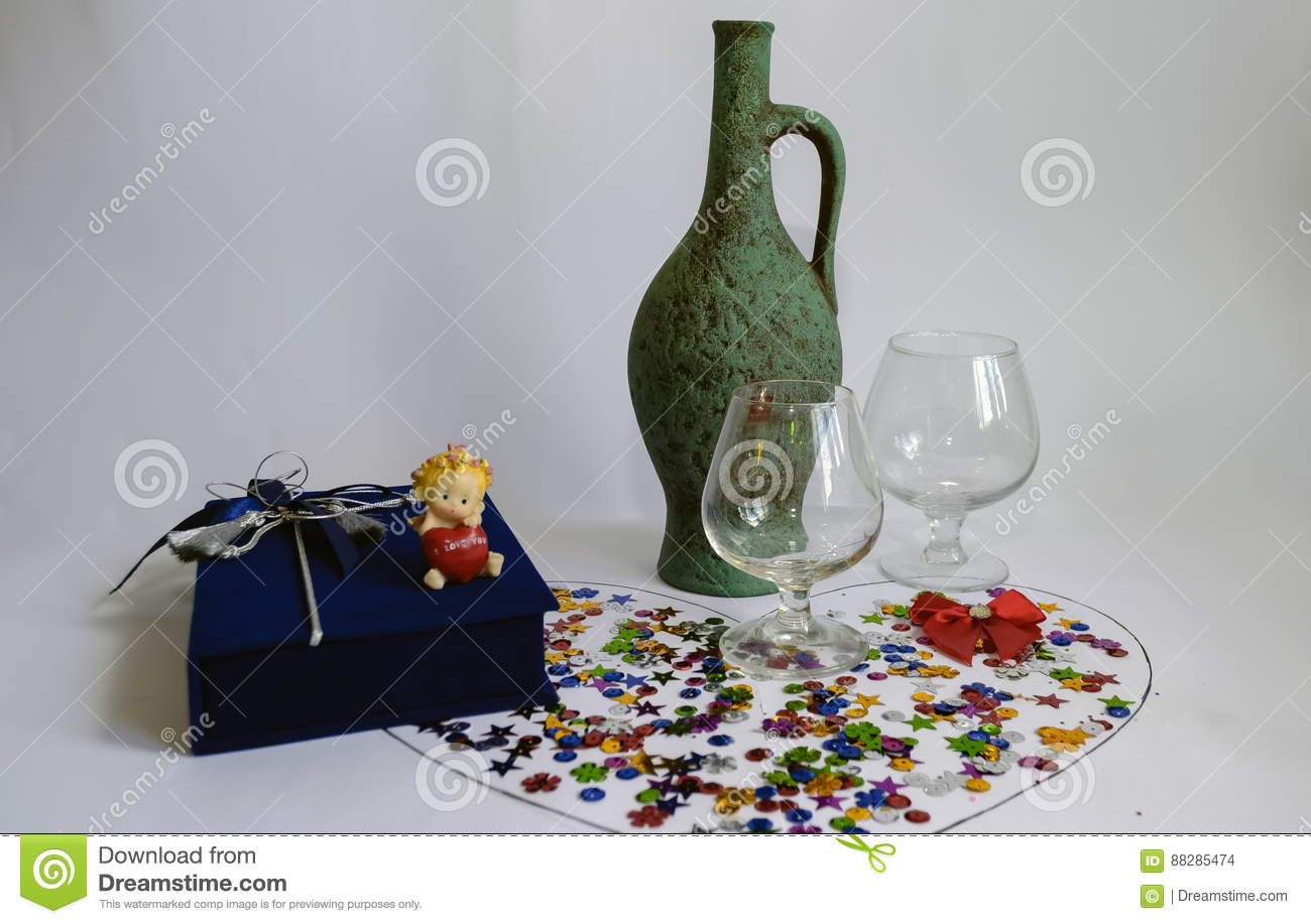 Green jug for wine and two empty glasses stock photo image 88285474 royalty free stock photo biocorpaavc Gallery