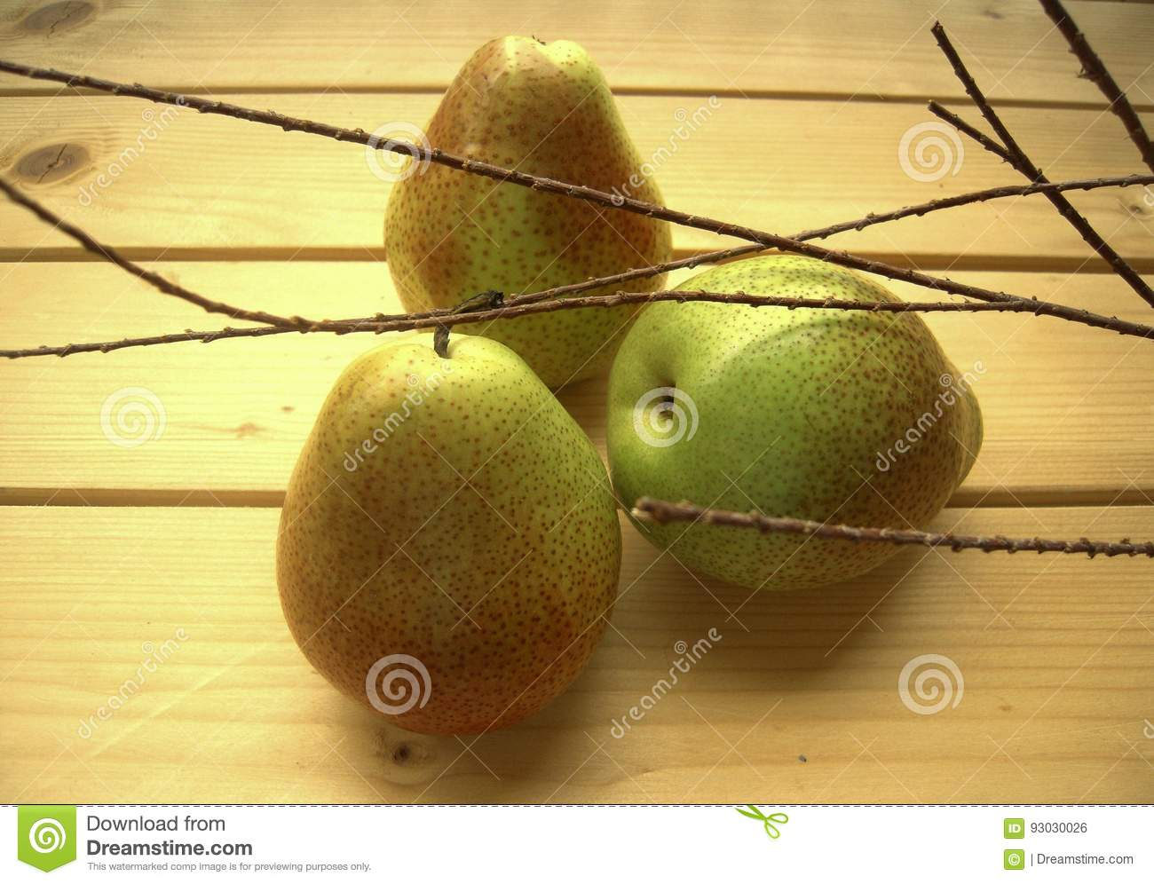 Green Juicy Pears Straight From The Garden Stock Photo - Image of ...