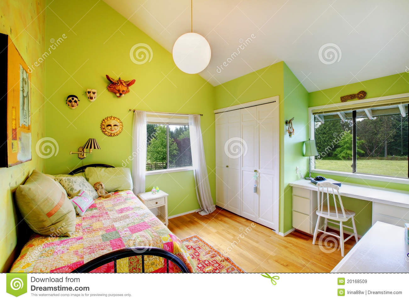 Girls Bedroom Green green kids, girls bedroom.with white furniture. royalty free stock