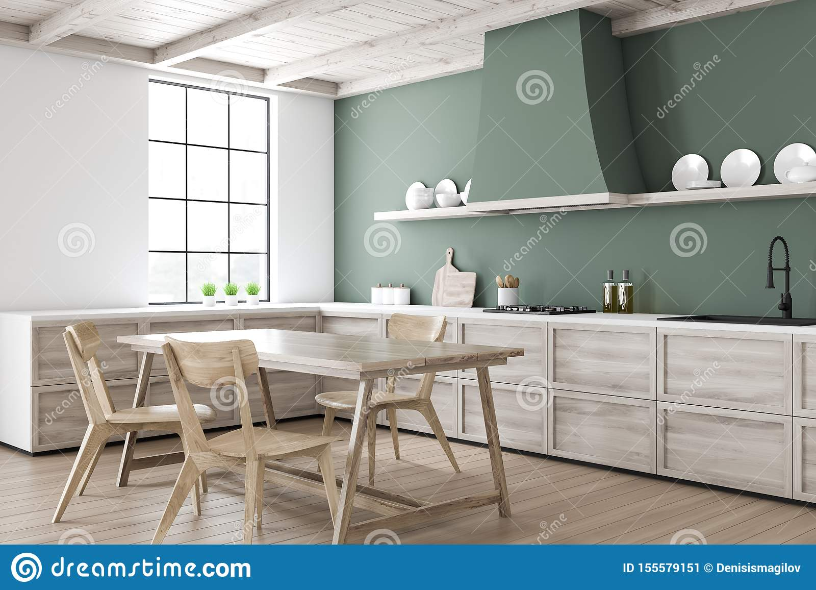 Green Kitchen Corner With Dining Table Stock Illustration Illustration Of Dark Home 155579151