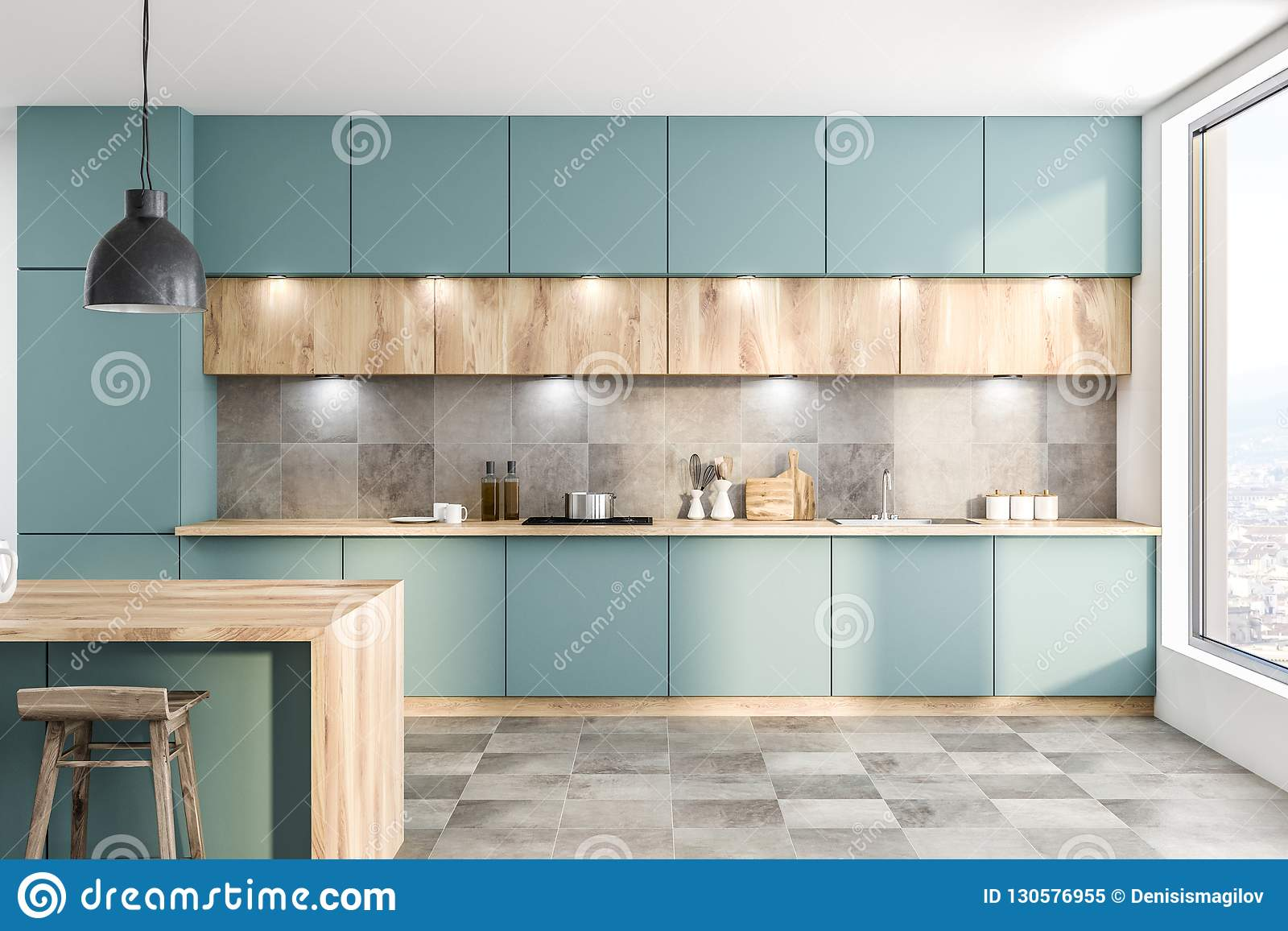 Green Kitchen With Counters And Bar Stock Illustration ...