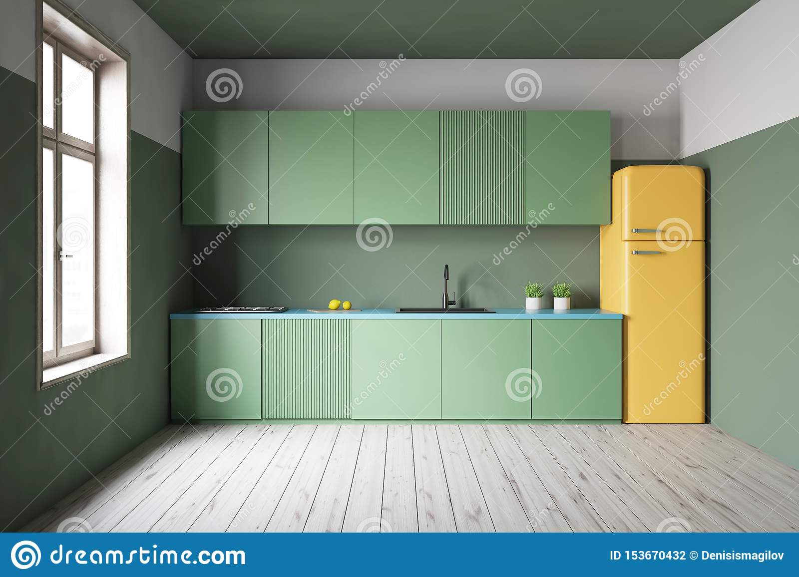 Green Kitchen Interior With Countertops And Fridge Stock ...