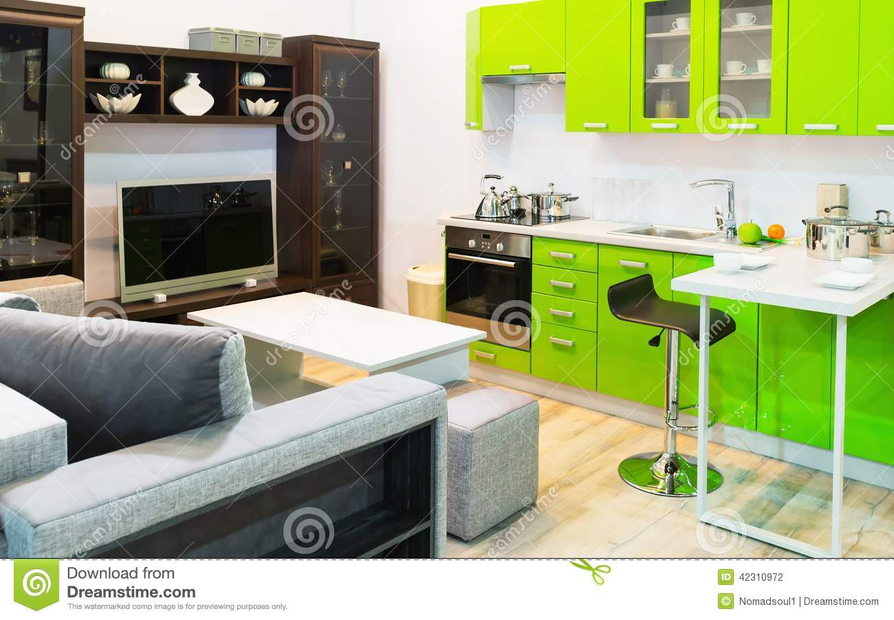 Green kitchen and room clean interior design stock photo for Clean interior design