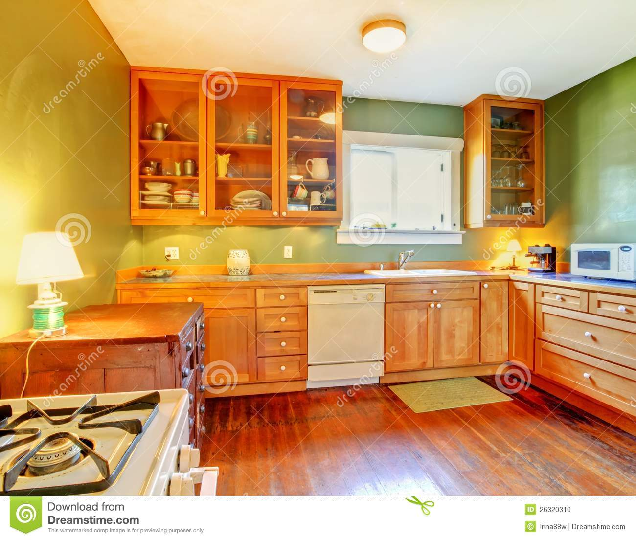 Green Kitchen With Wood Cabinets Stock Photo Image Of