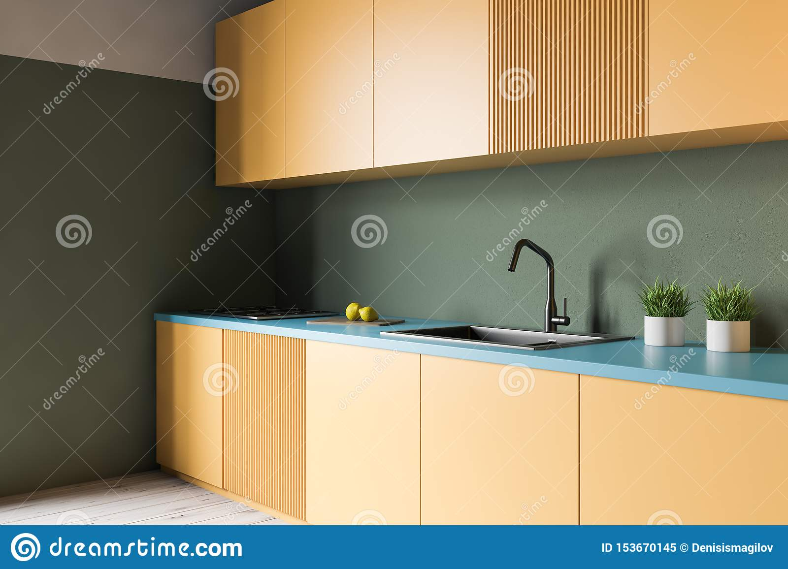 Green Kitchen With Yellow Countertops Stock Illustration