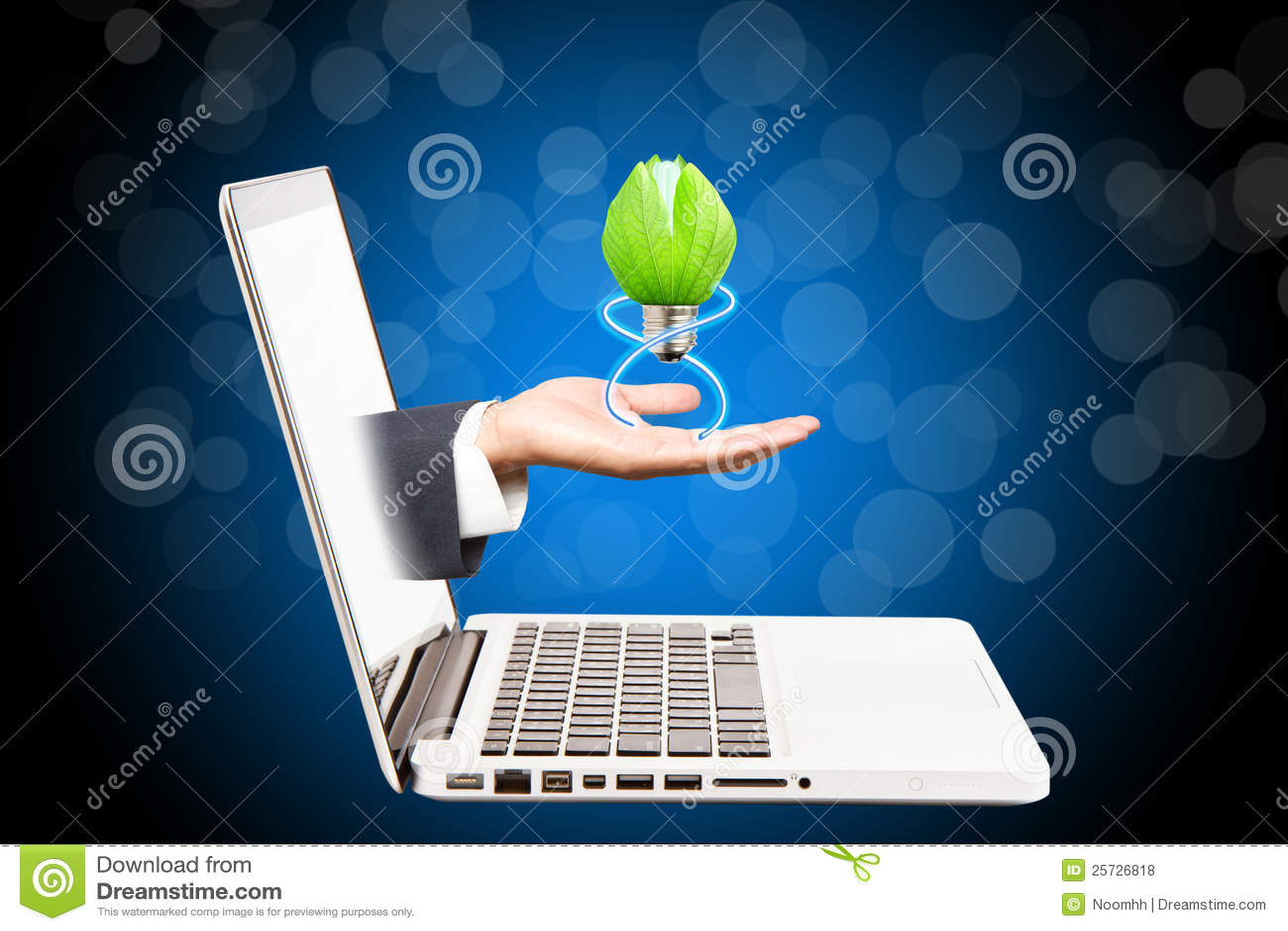 Green lamp on hand