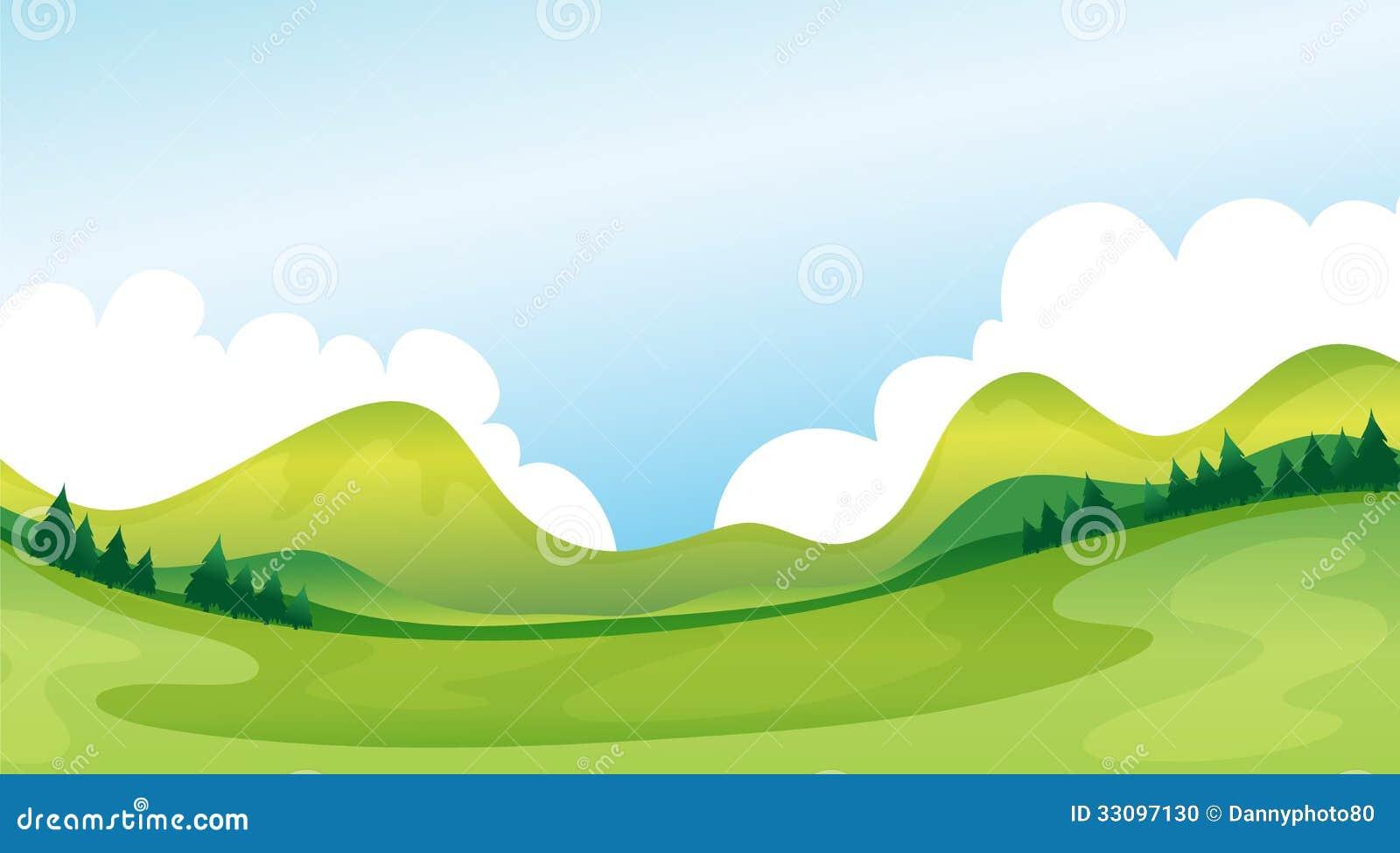 Landscape Illustration Vector Free: A Green Landscape Stock Vector. Illustration Of