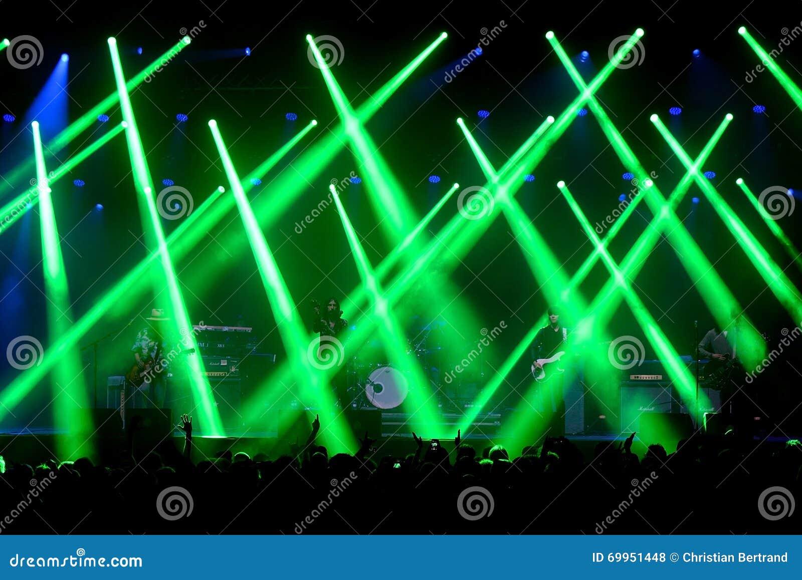 Green Laser Lights At The Primal Scream Band Concert At Vida