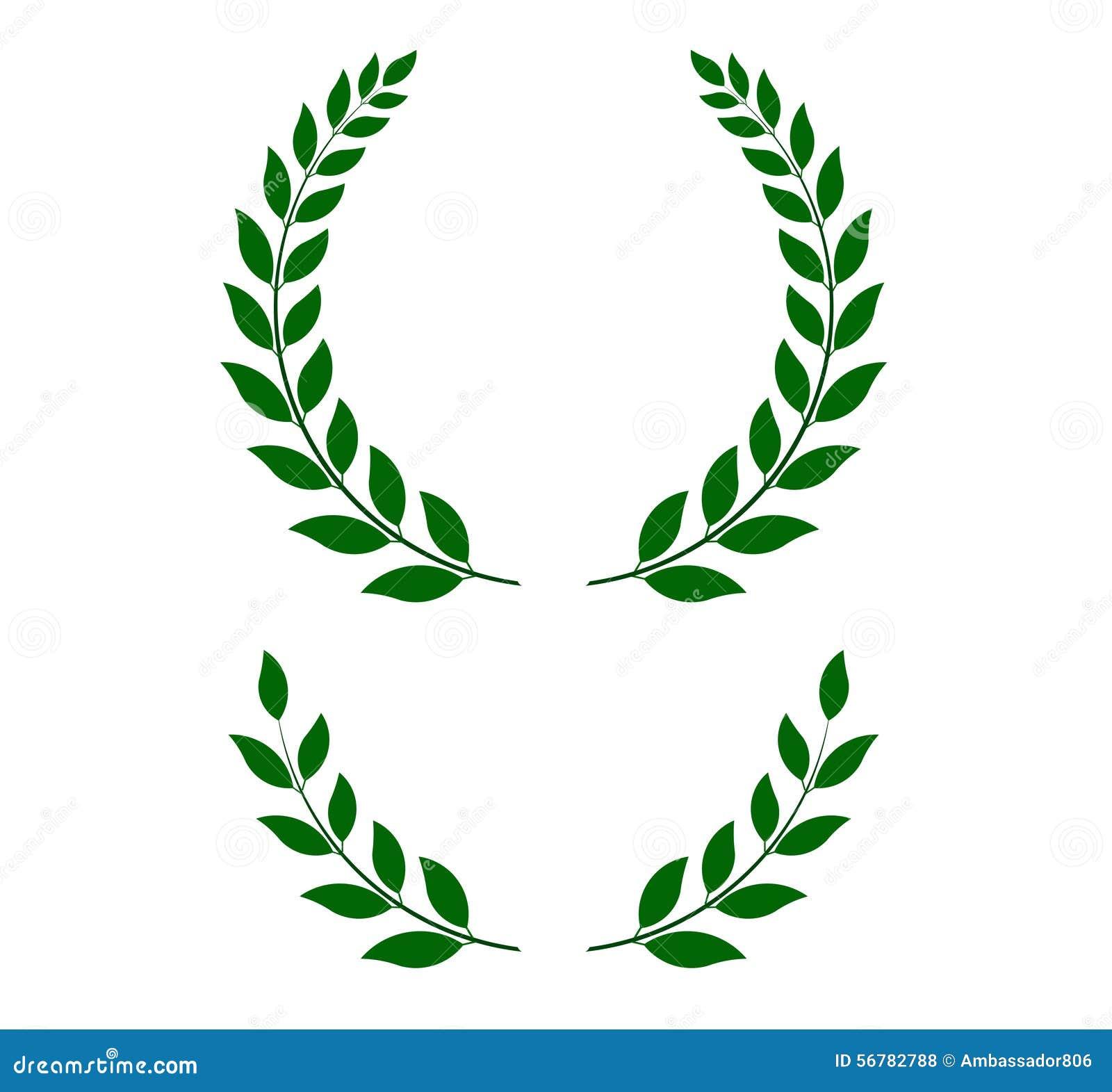 Stock Illustration Green Laurel Wreaths Vector Illustration Round Half Main Emblem Bottom Format Fully Editable You Can Change Form Image56782788 on Black Vine Border