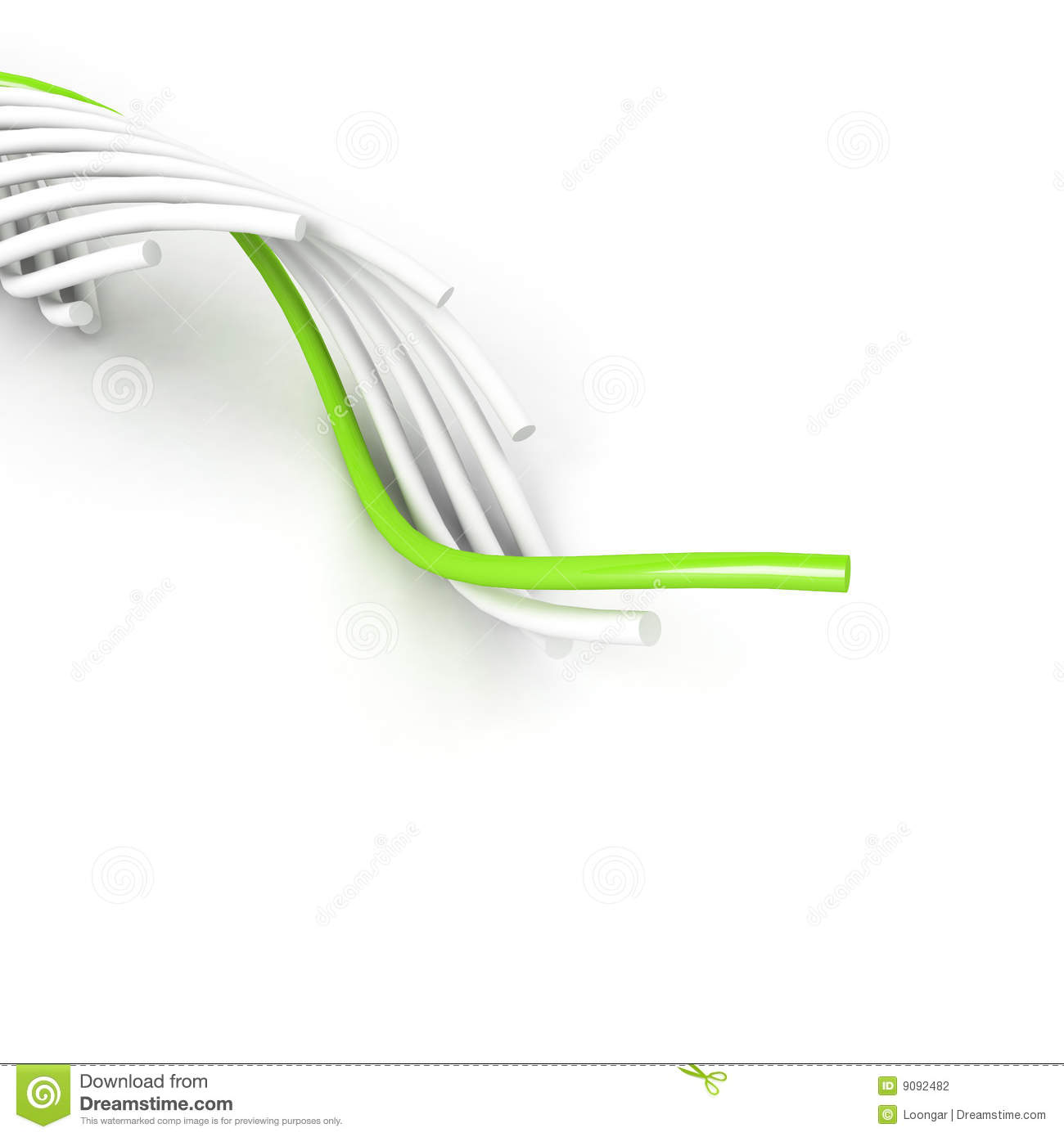 Green leading cable over white