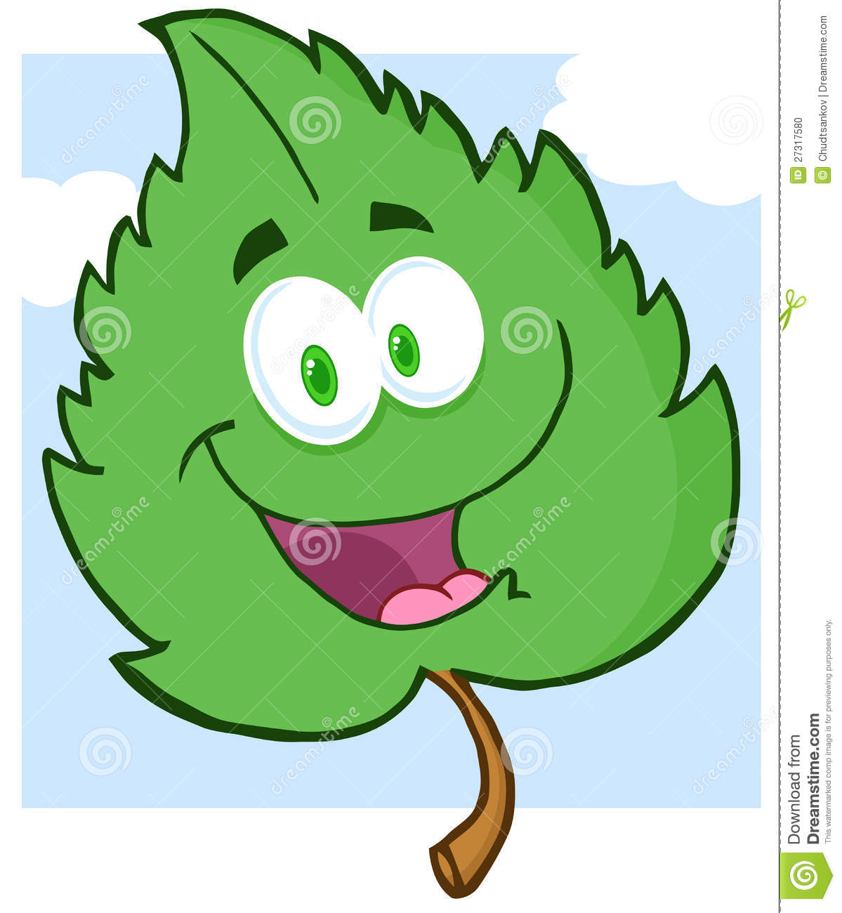 A Cartoon Character That Is Green : Green leaf cartoon character stock photo image
