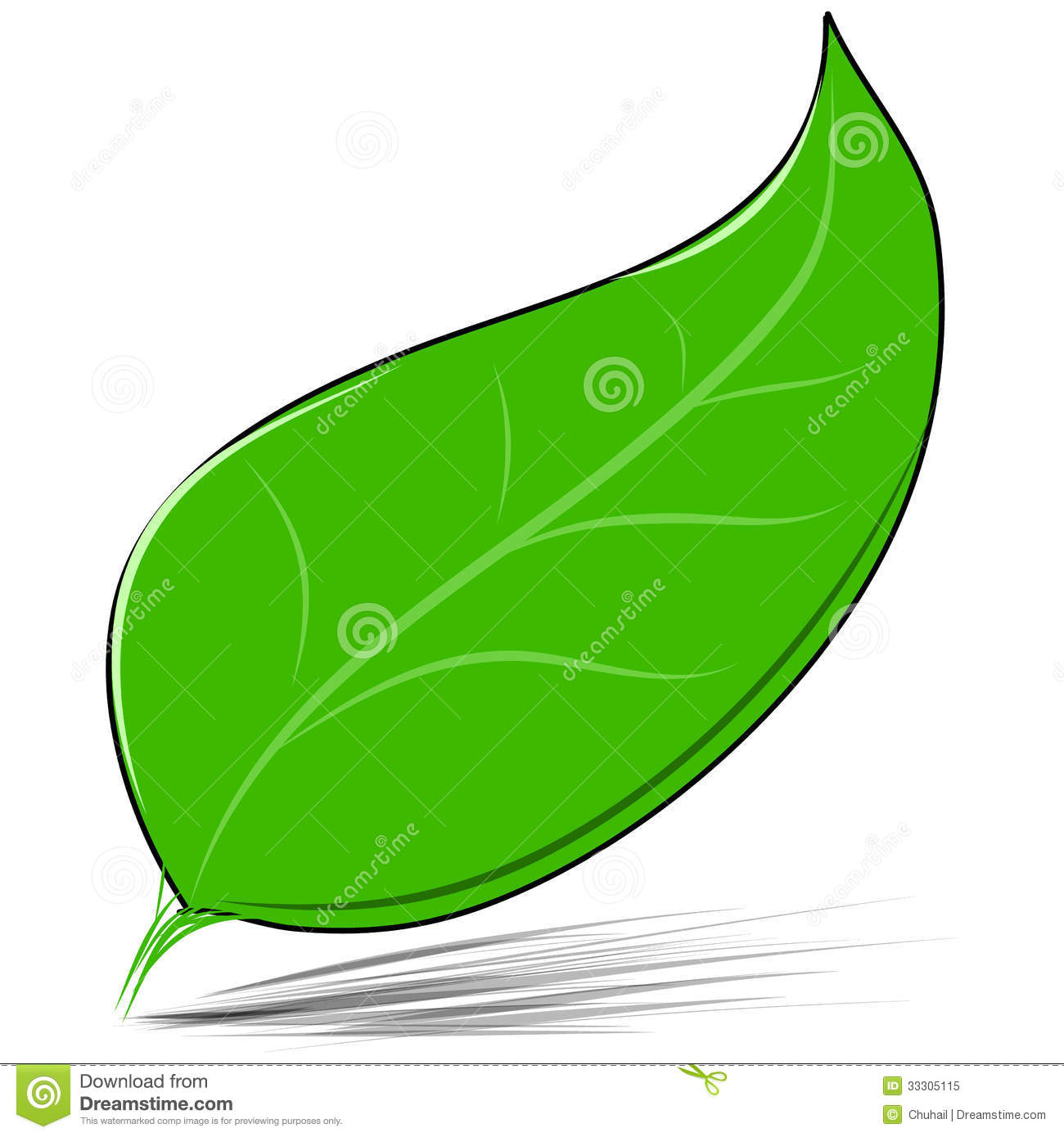 Green Leaf Isolated On White Vector Illustration Stock