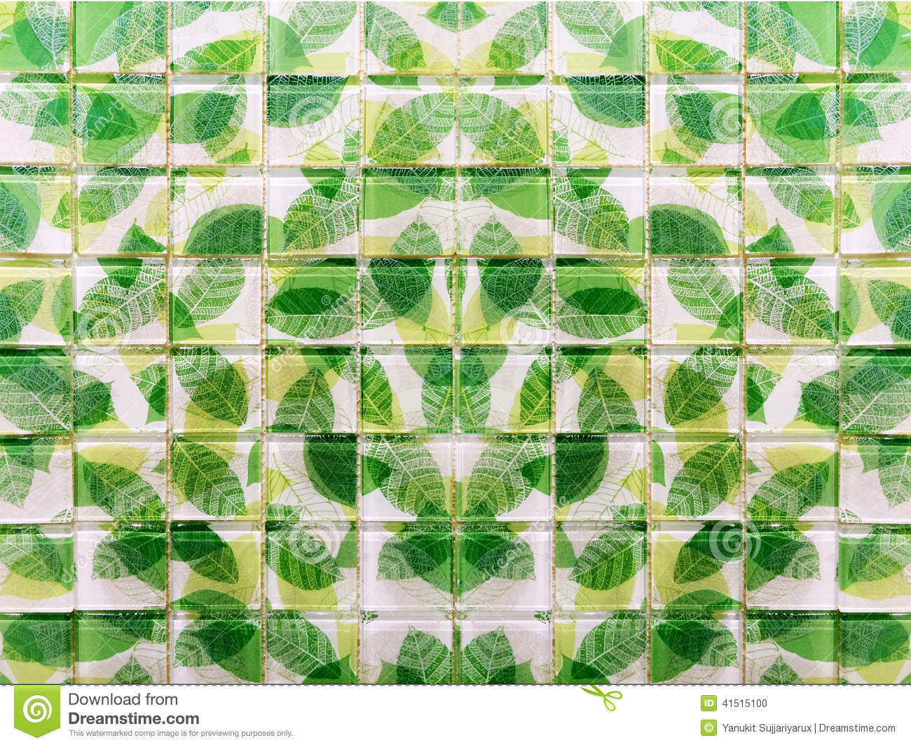 Green Leaf Mosaic Tiles Stock Photo Image Of Ceramic 41515100