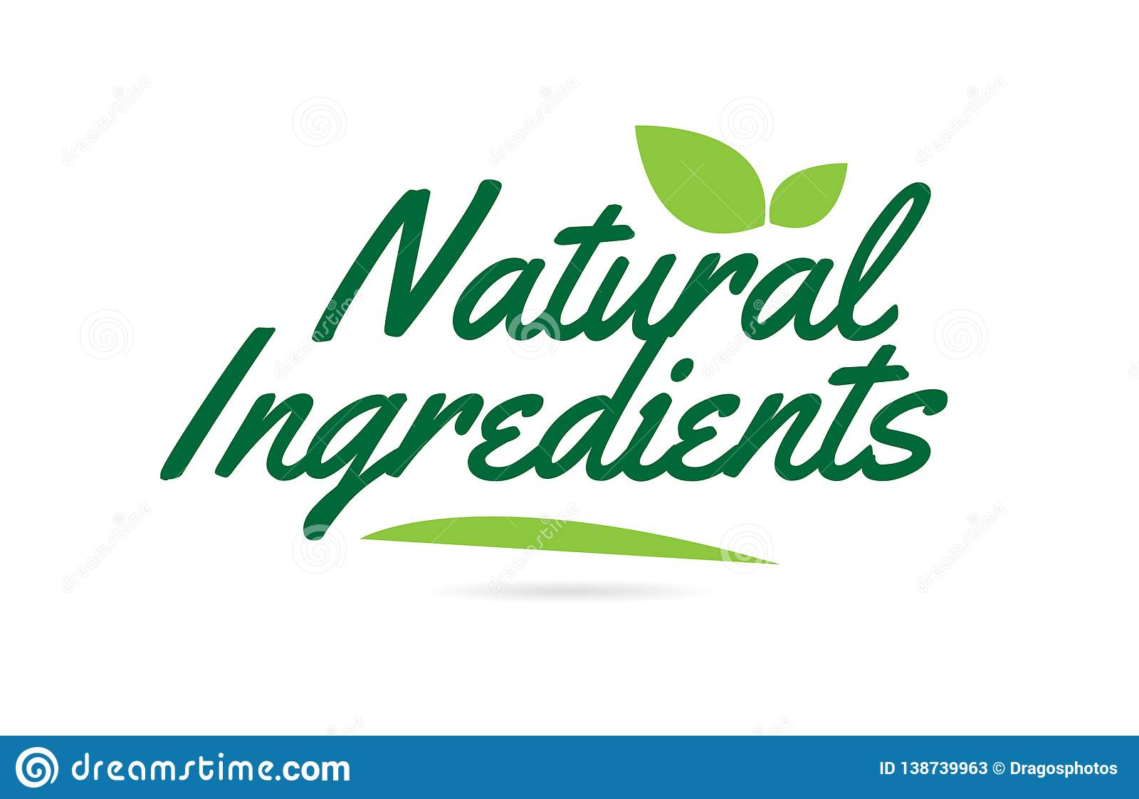 green leaf Natural Ingredients hand written word text for typography logo design