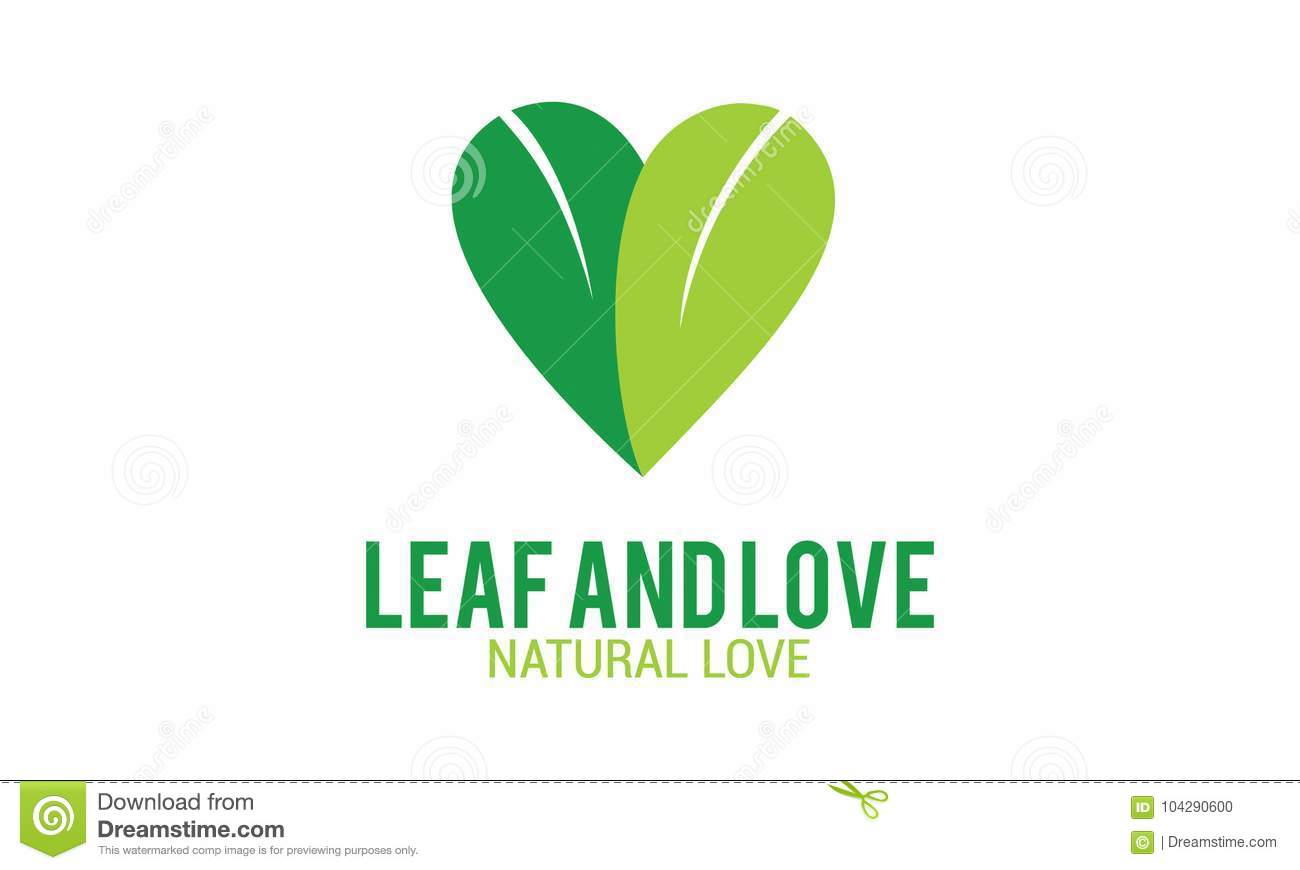 Green Leaf And Natural Love Stock Vector - Illustration of natural