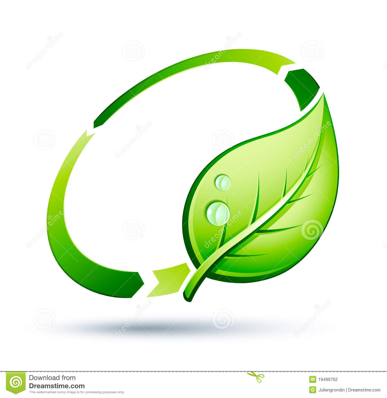 ... leaf and green circle suitable as a symbol or icon for recycling