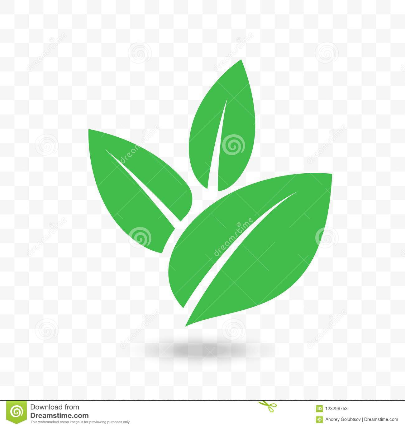 Green Leaf Vector Icon For Vegan, Bio Eco Design Stock Vector