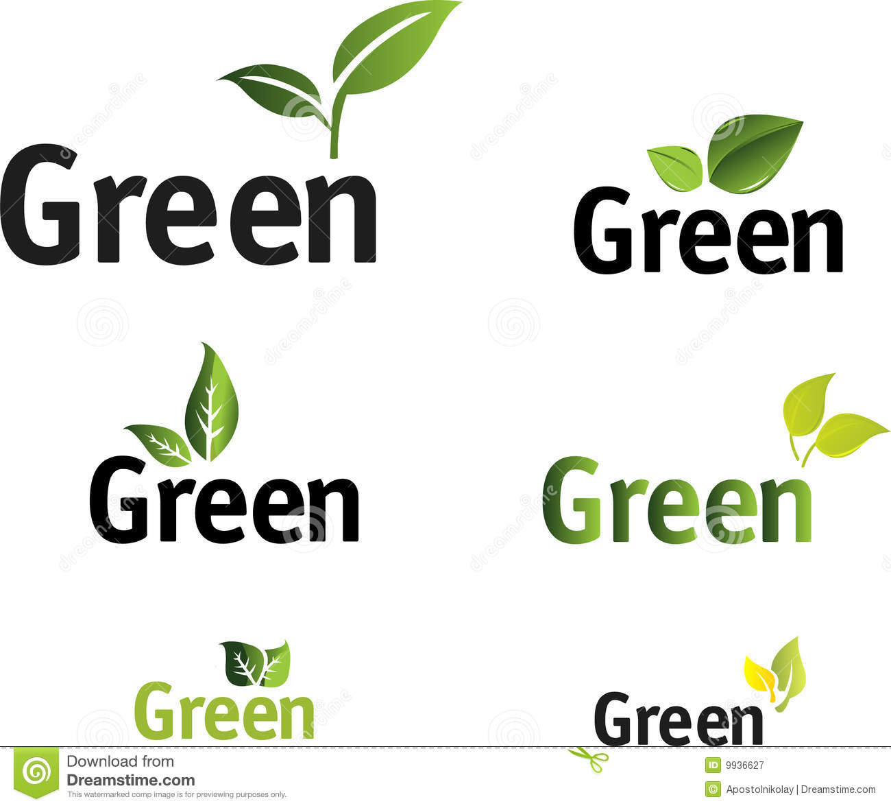 Green Leaf Vector Set. Royalty Free Stock Photography - Image: 9936627