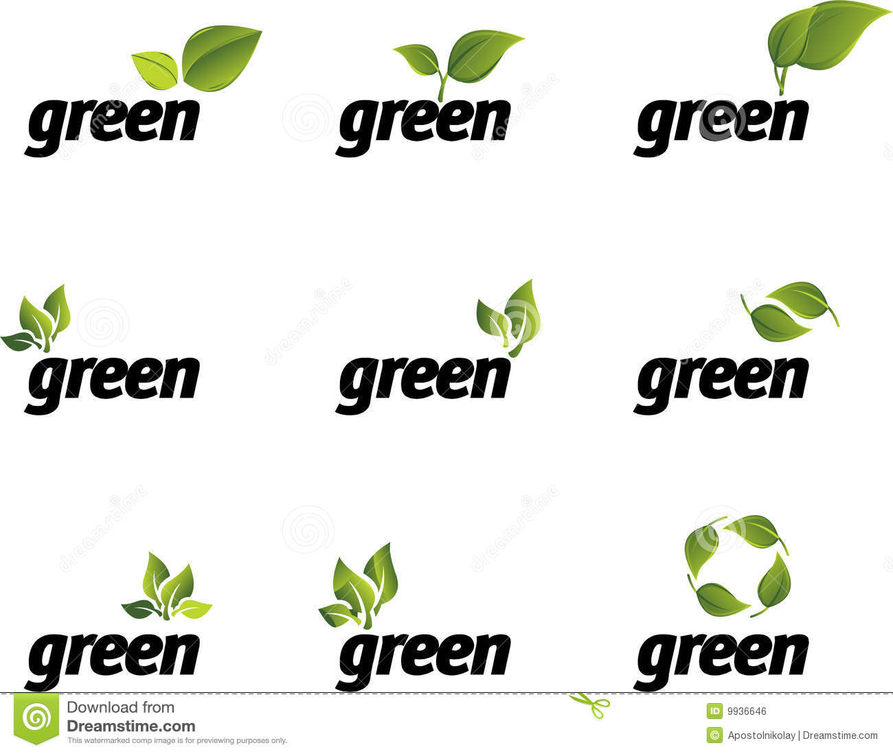 Green Leaf Vector Set. Royalty Free Stock Image - Image: 9936646