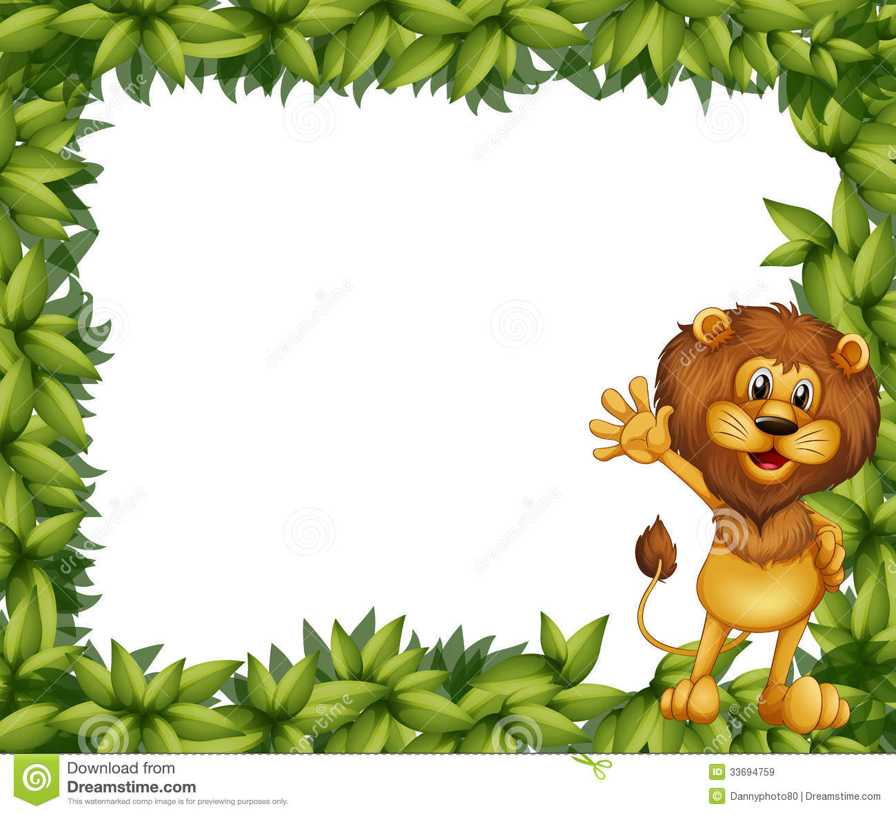 Green Leafy Border With A Lion Royalty Free Stock Images - Image ...