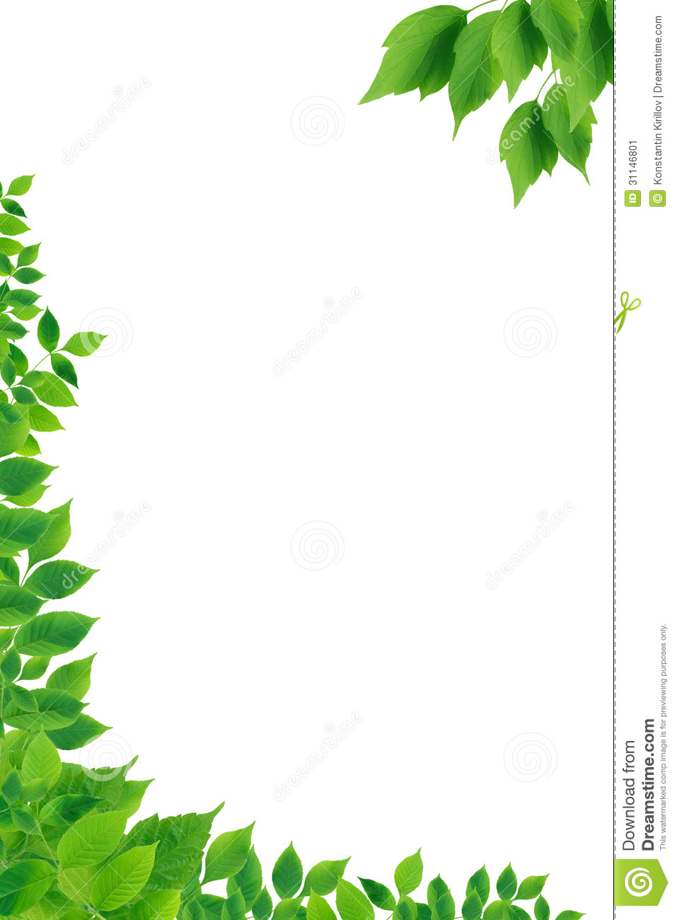 Green Leaves Border Stock Image - Image: 31146801