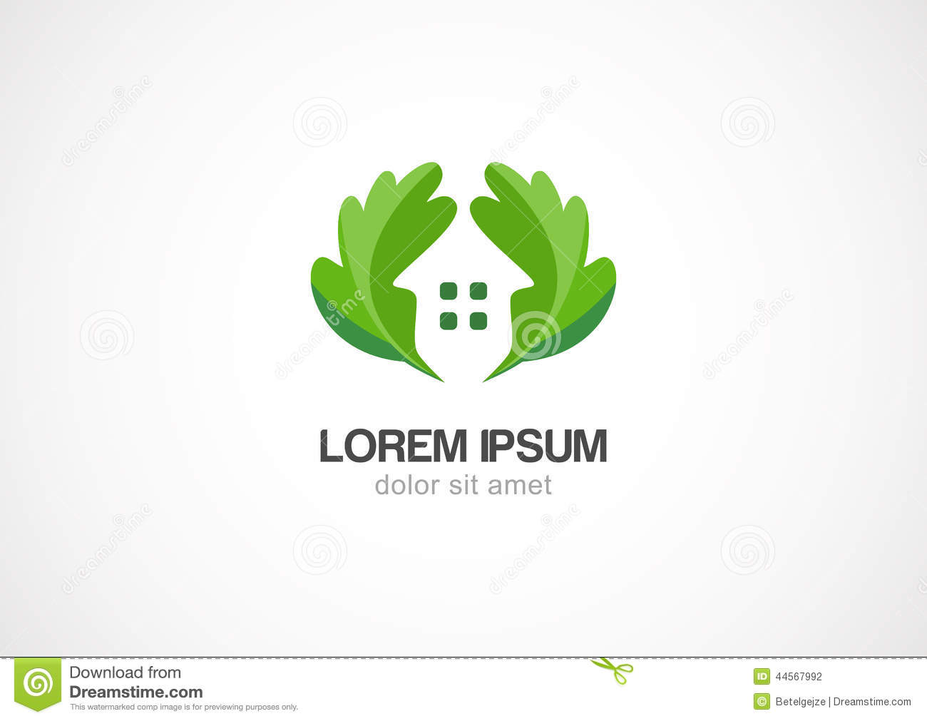 green leaves eco home vector logo design template stock