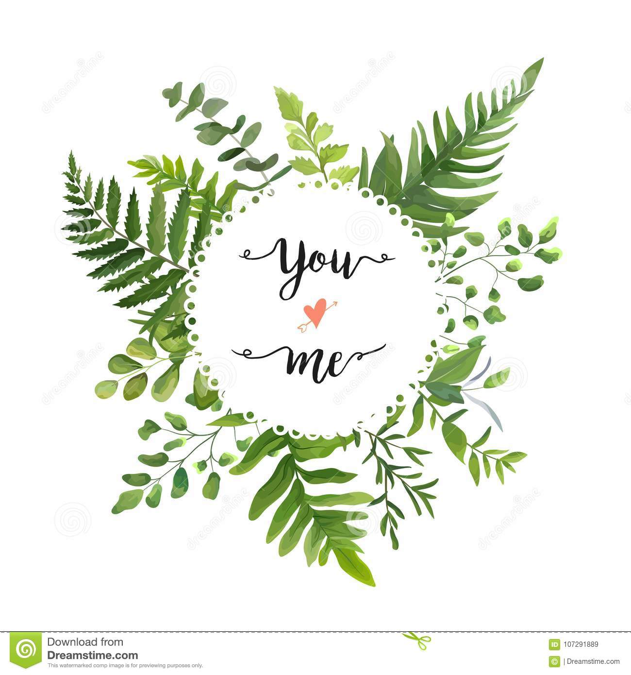 Green Leaves foliage vector round greenery leaf wreath of eucaly