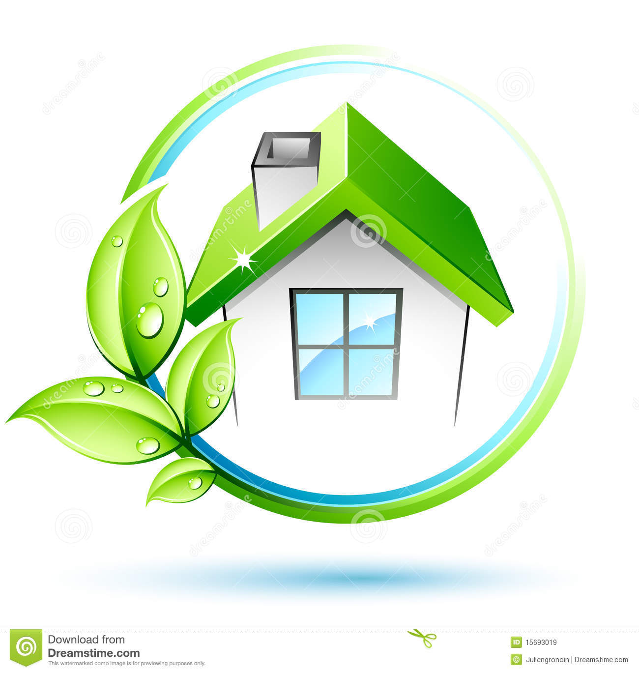 Green leaves and house