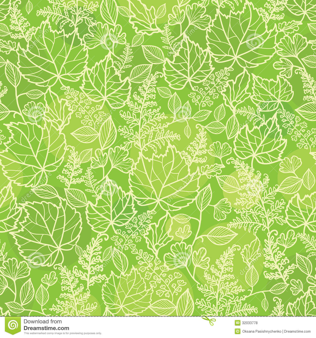 Vector green leaves lineart seamless pattern background with hand ... Green Texture Repeating Background
