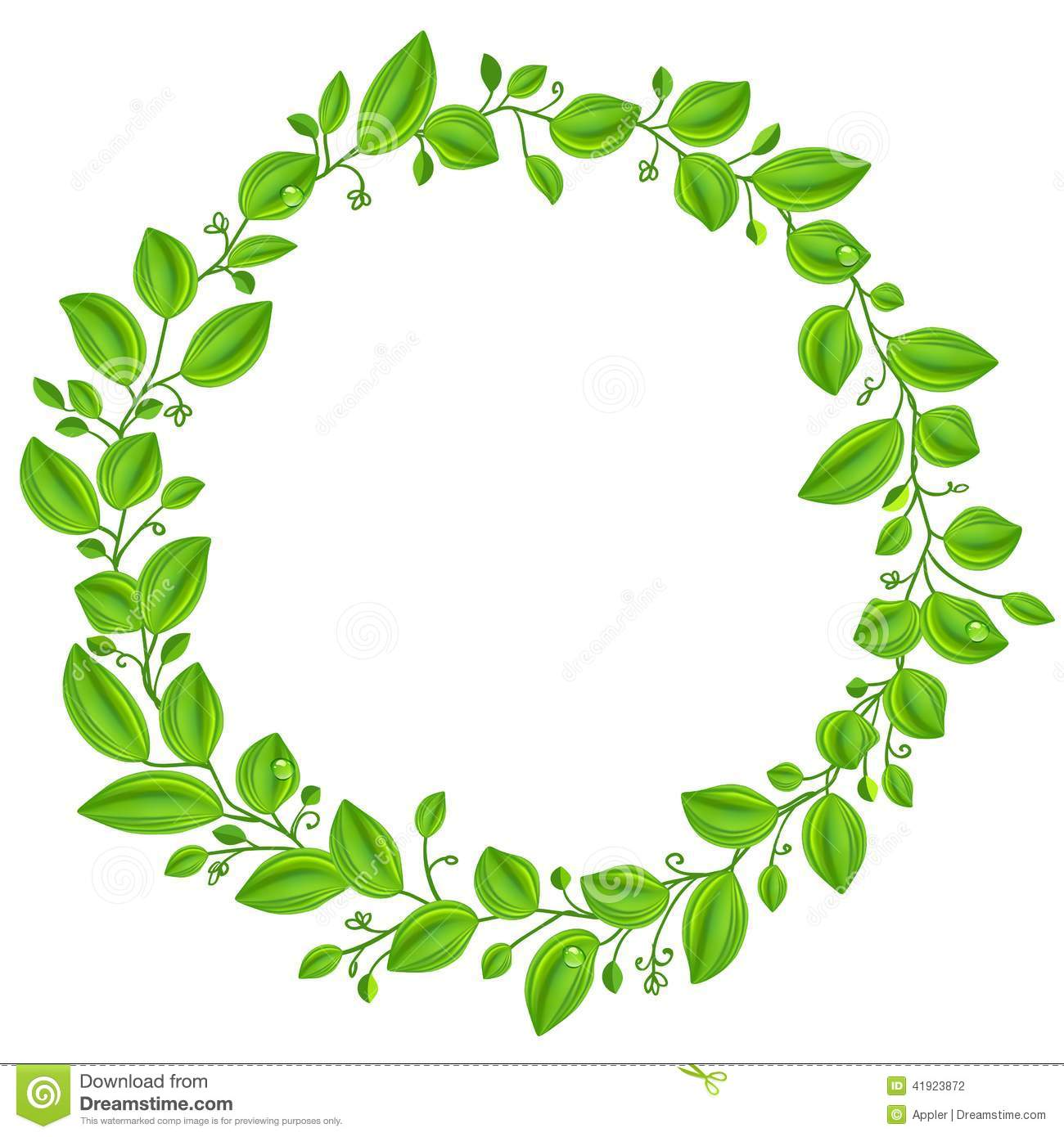 Green Leaves Round Frame Stock Vector Image Of