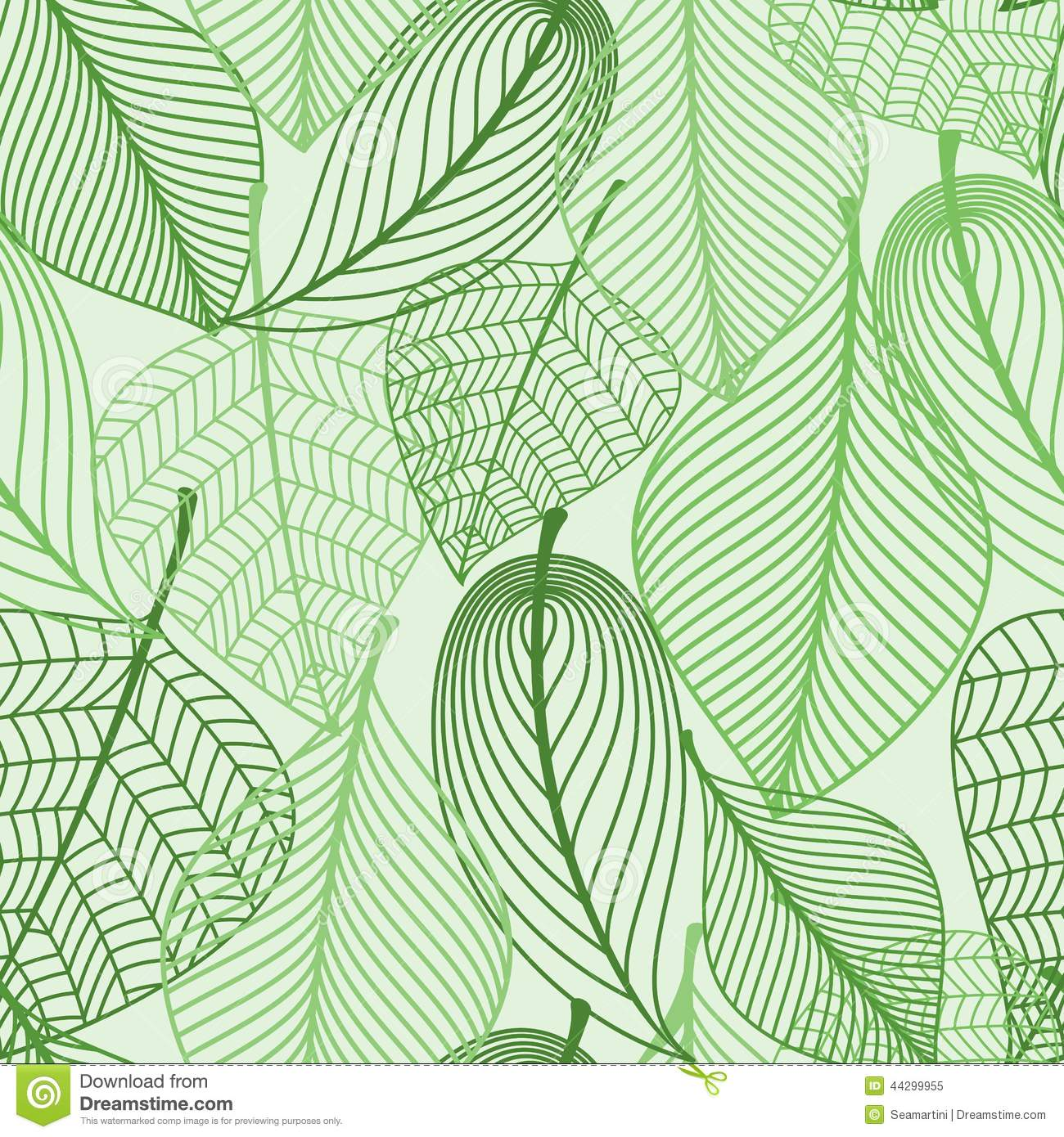 Green Leaves Seamless Pattern Background Stock Vector ...