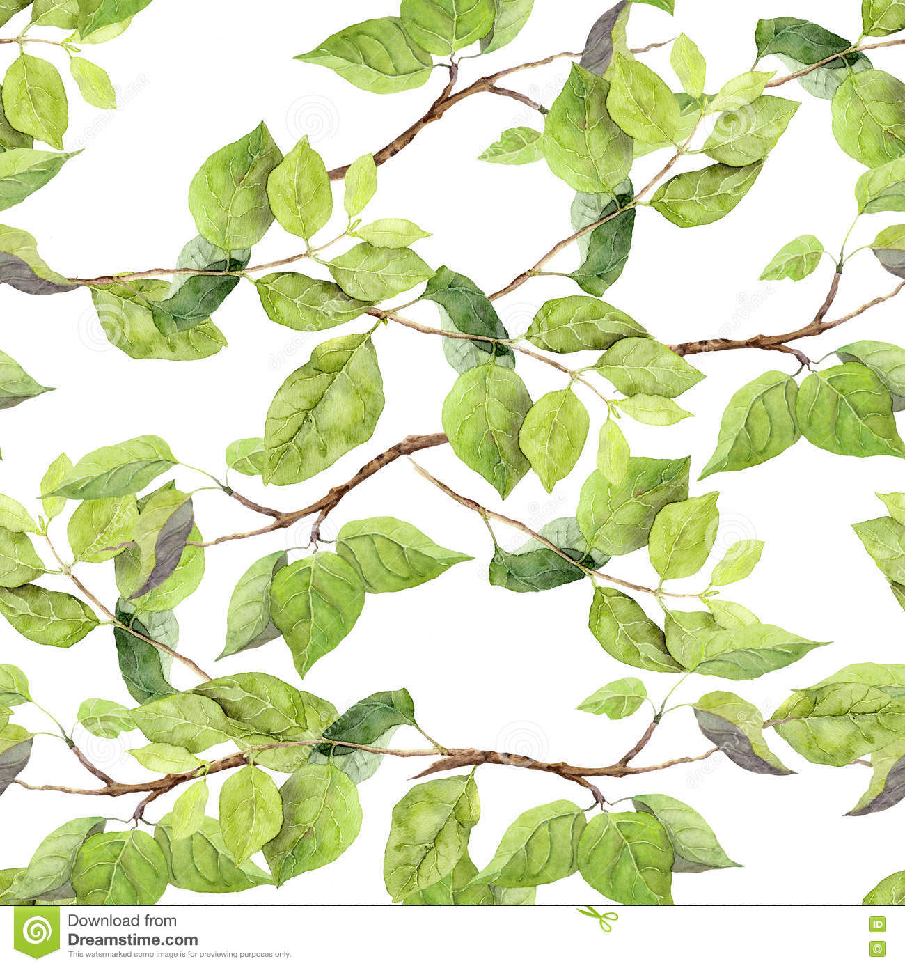 Green leaves. Seamless pattern. Watercolor