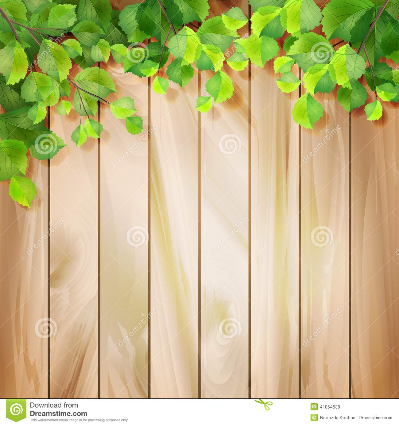 Green Leaves On A Wood Texture Vector Background Stock