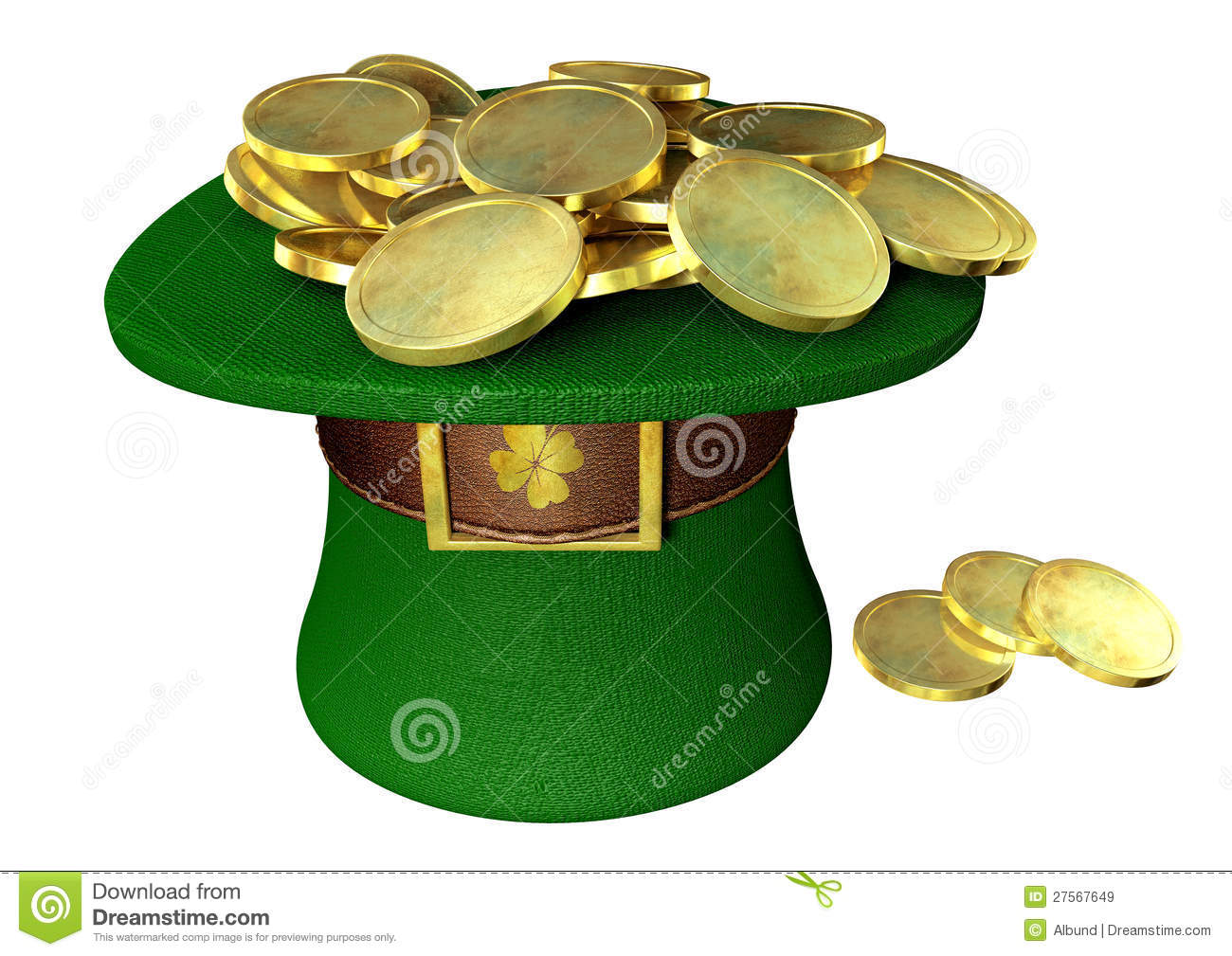Green Leprechaun Hat Filled With Gold Coins Royalty Free ...