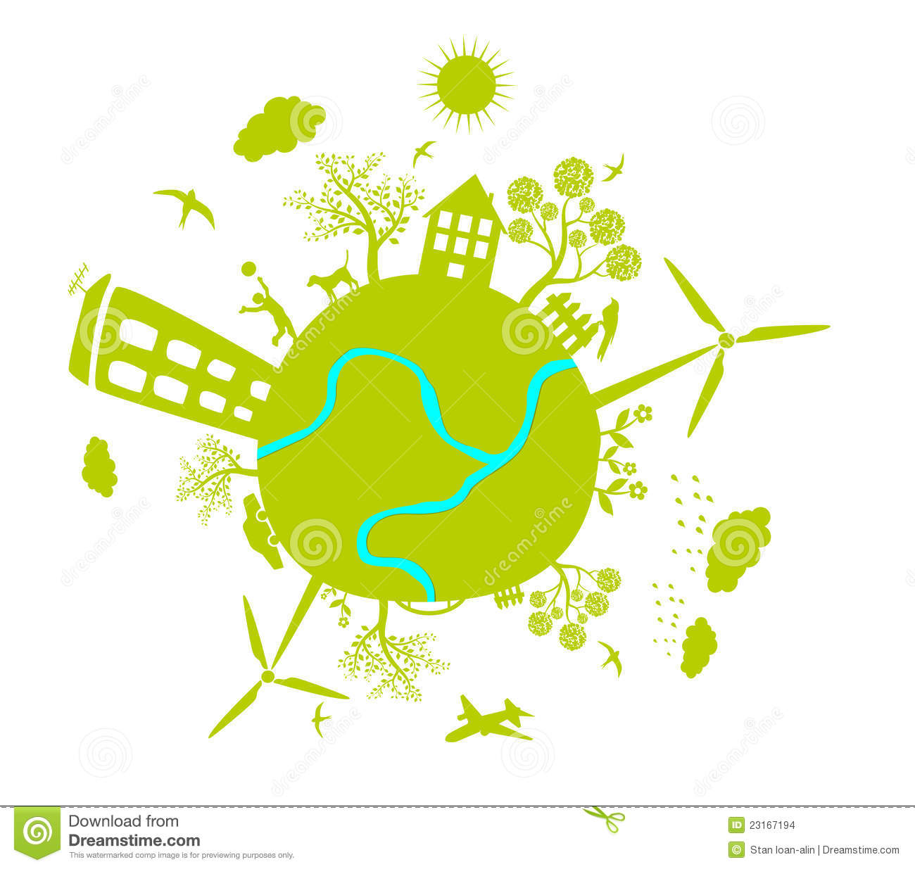 Green Life Earth Vector Stock Vector Illustration Of
