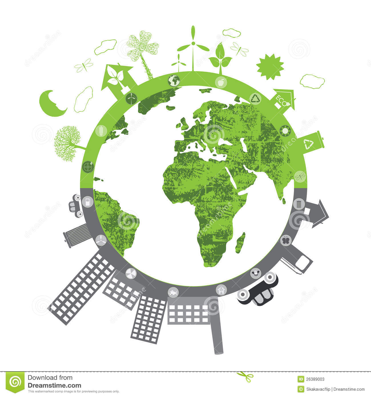 Illustration of green life vs. pollution on white background.