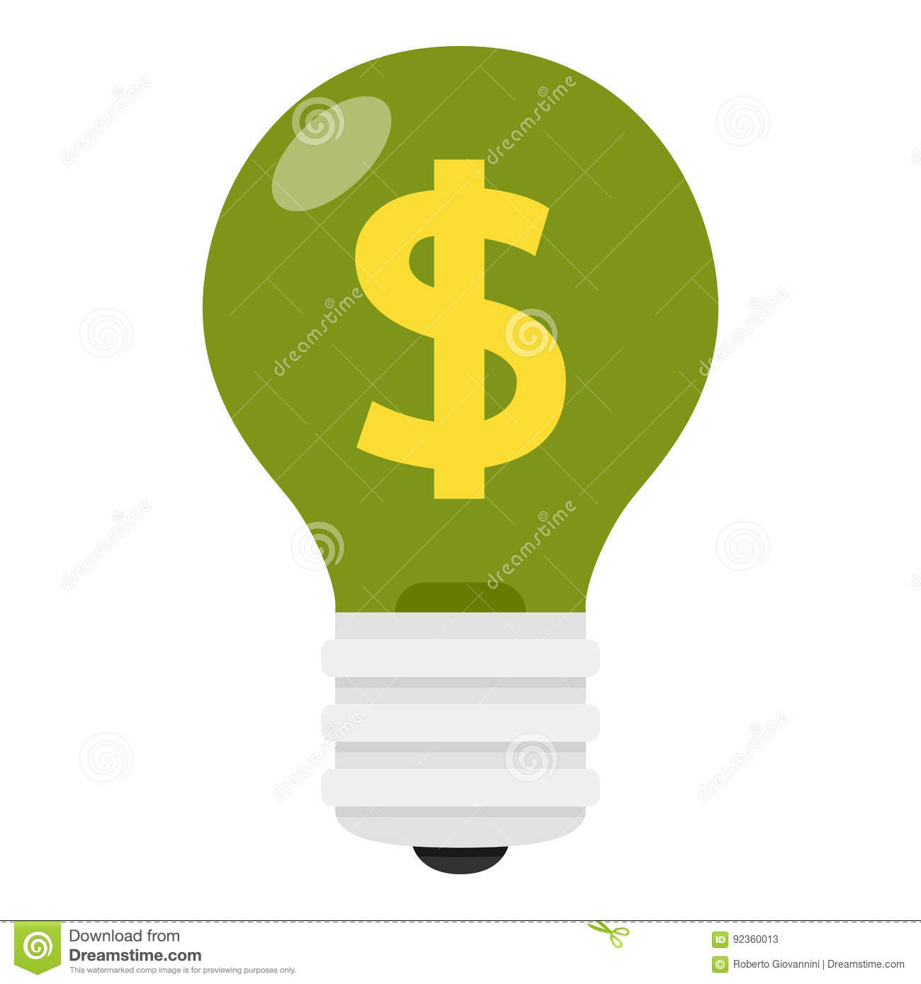 Green Light Bulb With Dollar Sign Flat Icon Stock Vector