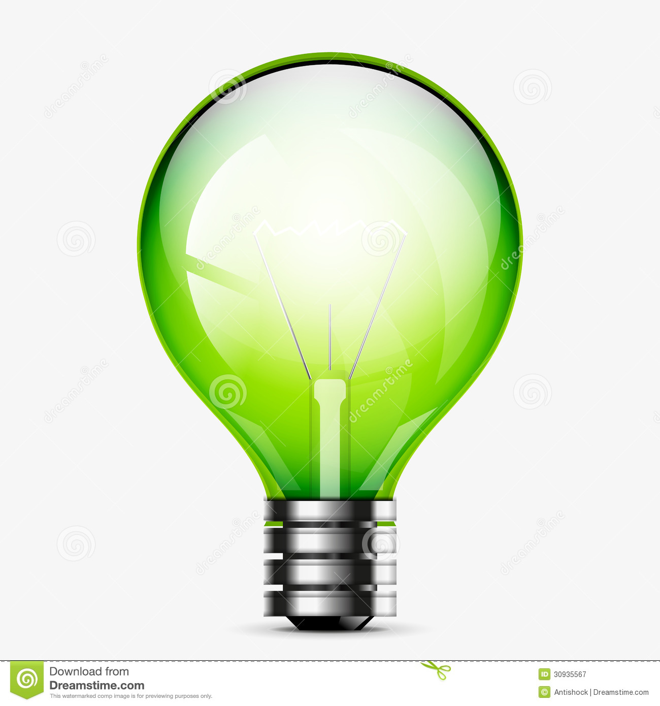 Green Light Bulb Icon Isolated On White Royalty Free Stock Photography ...