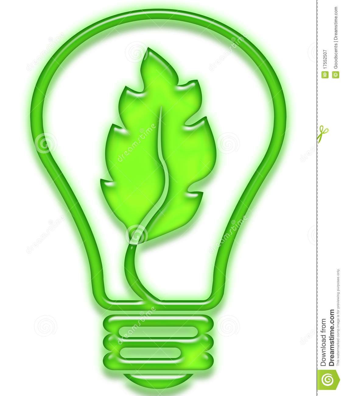 Green Light Bulb With Leaf Stock Illustration Image Of Ecology 17552507