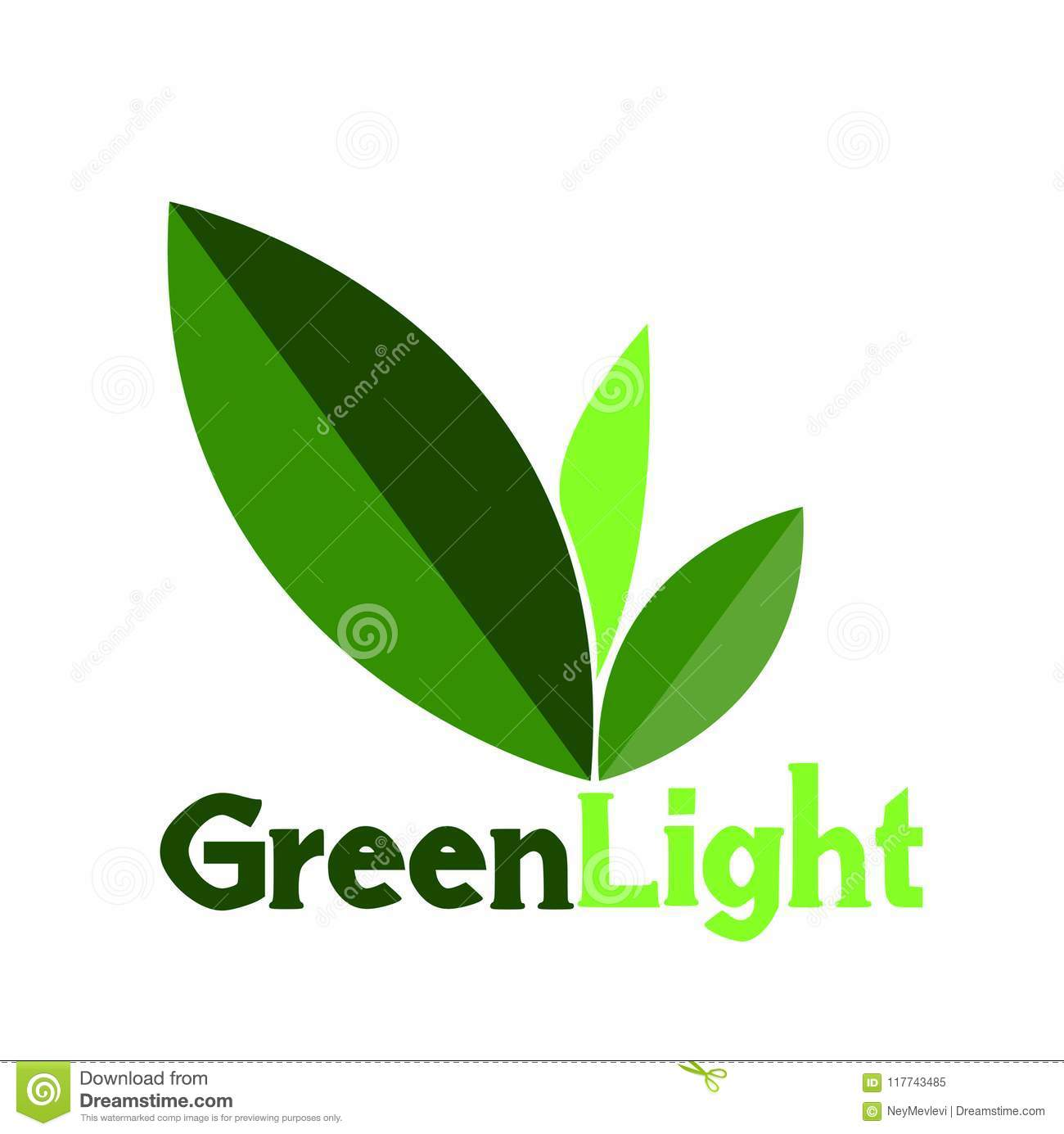 Green Light Logo Or Symbol Leaf Stock Vector Illustration Of