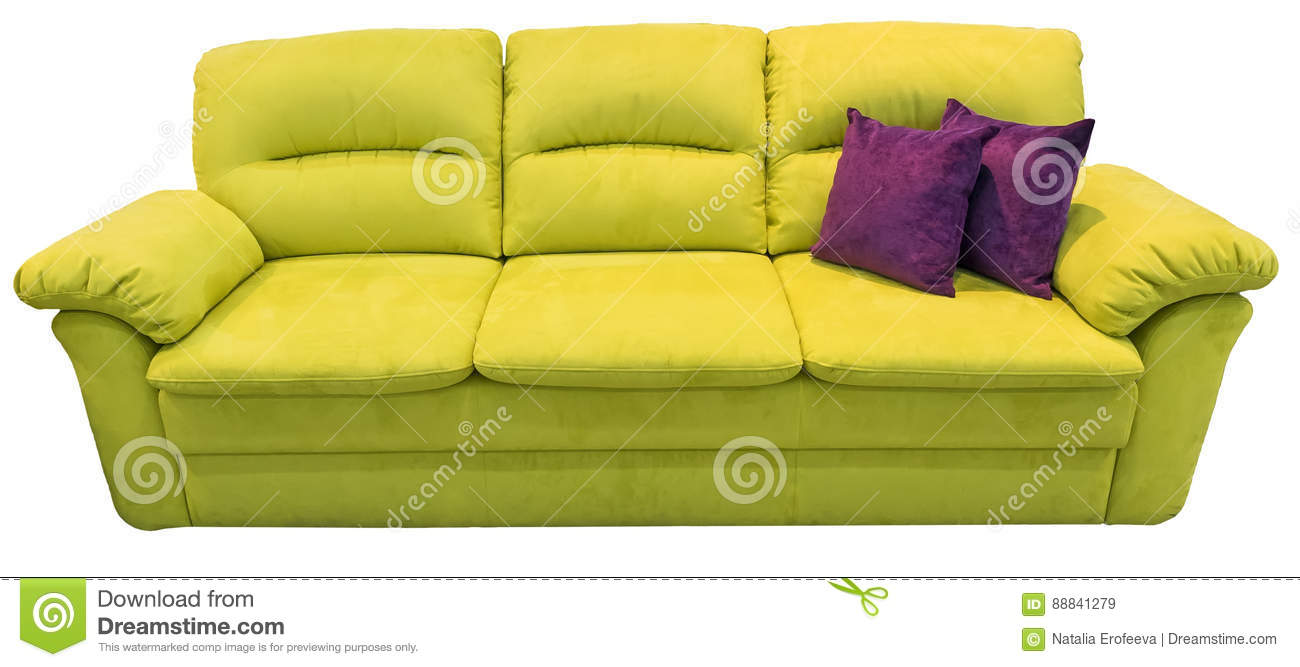 Green Lime Sofa With Pillow. Soft Lemon Couch. Classic